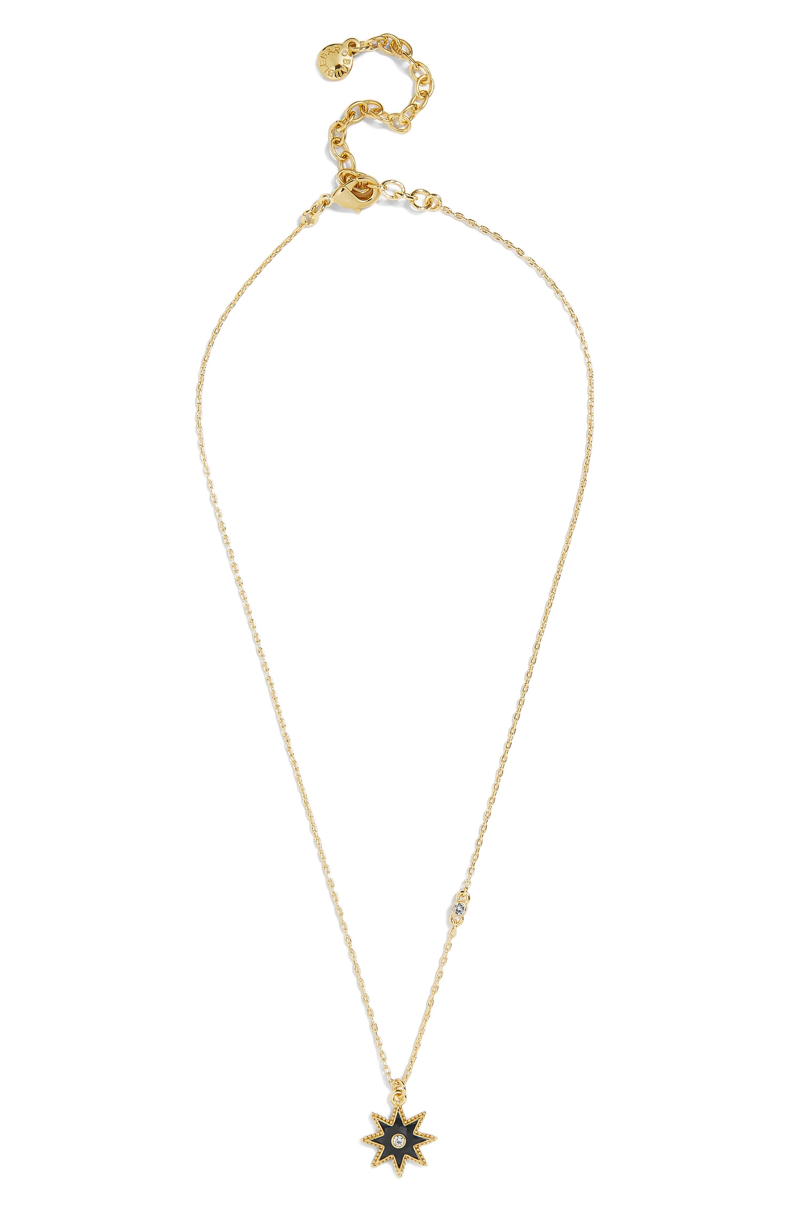 Merralina Star Pendant Necklace,                             Main thumbnail 1, color,                             GOLD/ BLACK