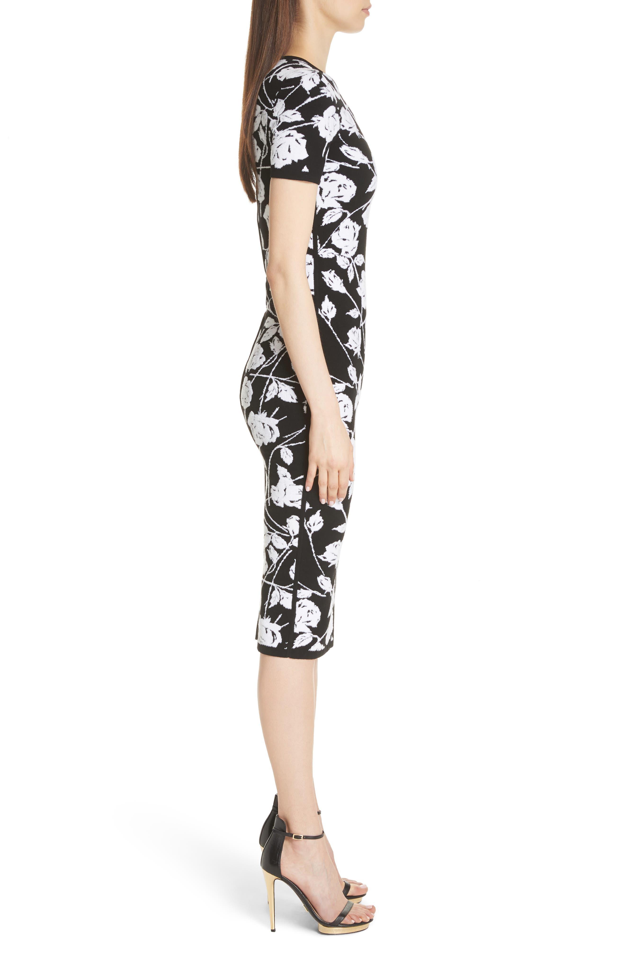 Stencil Rose Jacquard Dress,                             Alternate thumbnail 3, color,                             BLACK
