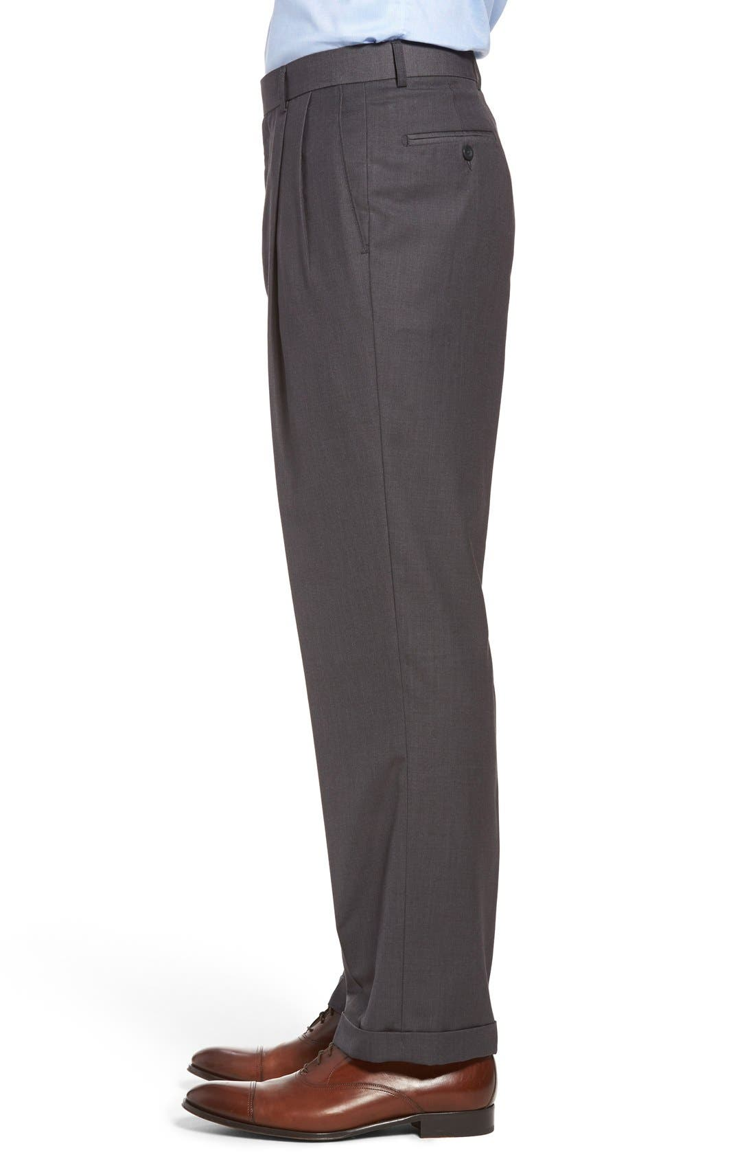 Pleated Microfiber Dress Pants,                             Alternate thumbnail 19, color,
