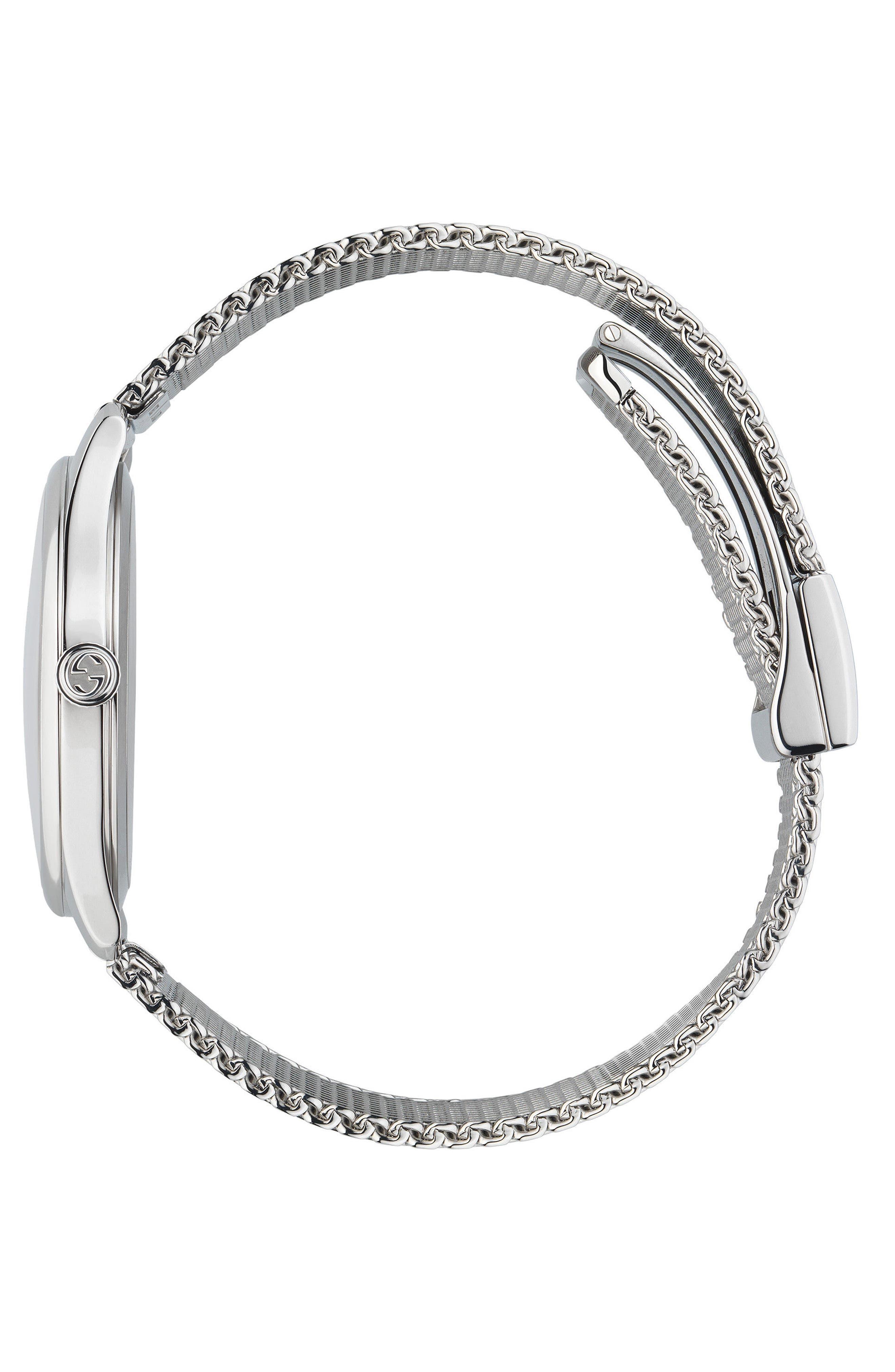 G-Timeless Mesh Bracelet Watch, 36mm,                             Alternate thumbnail 3, color,                             SILVER/ MOP/ SILVER