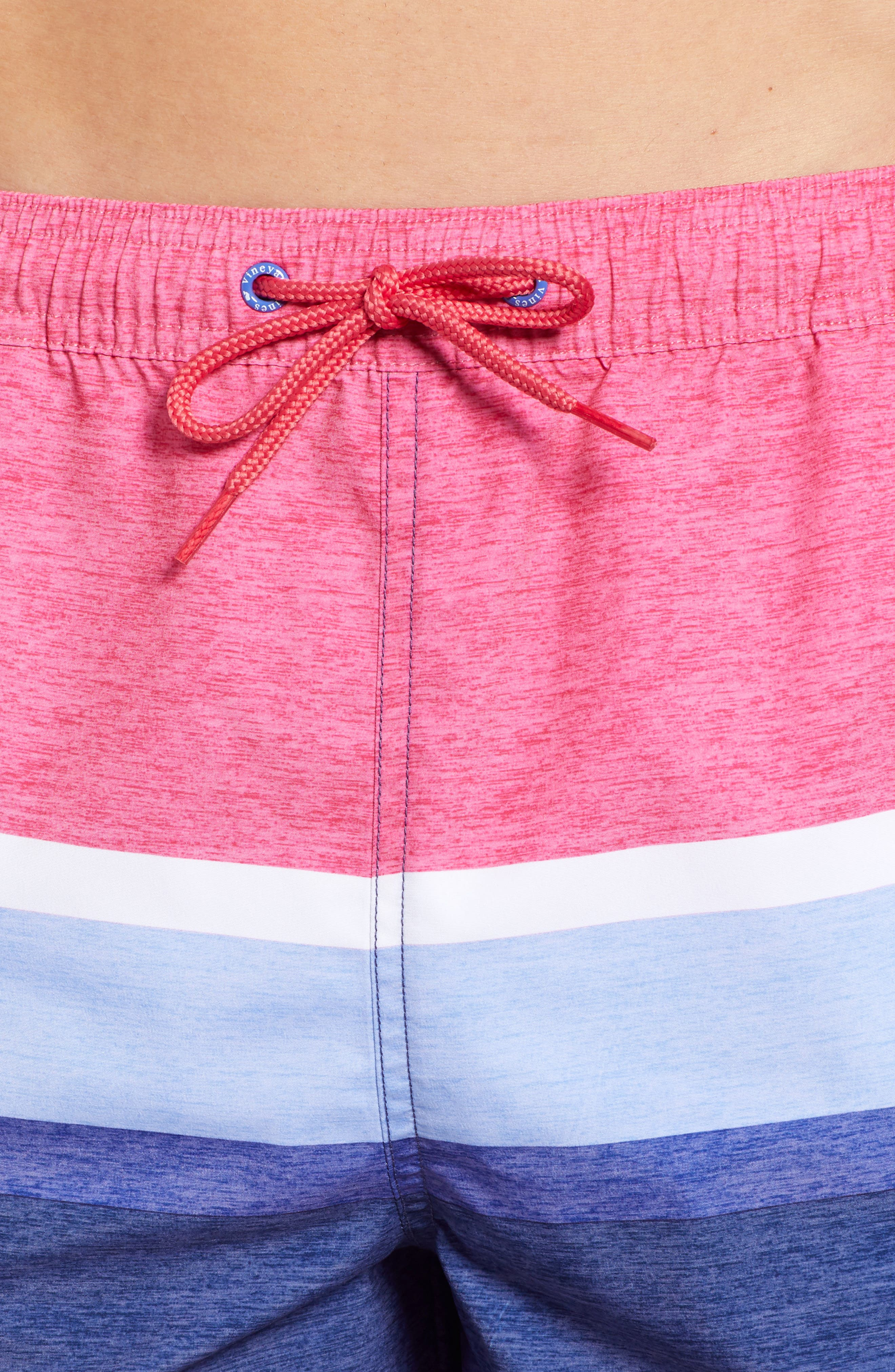 Deck Stripe Chappy Swim Trunks,                             Alternate thumbnail 4, color,                             MARLIN