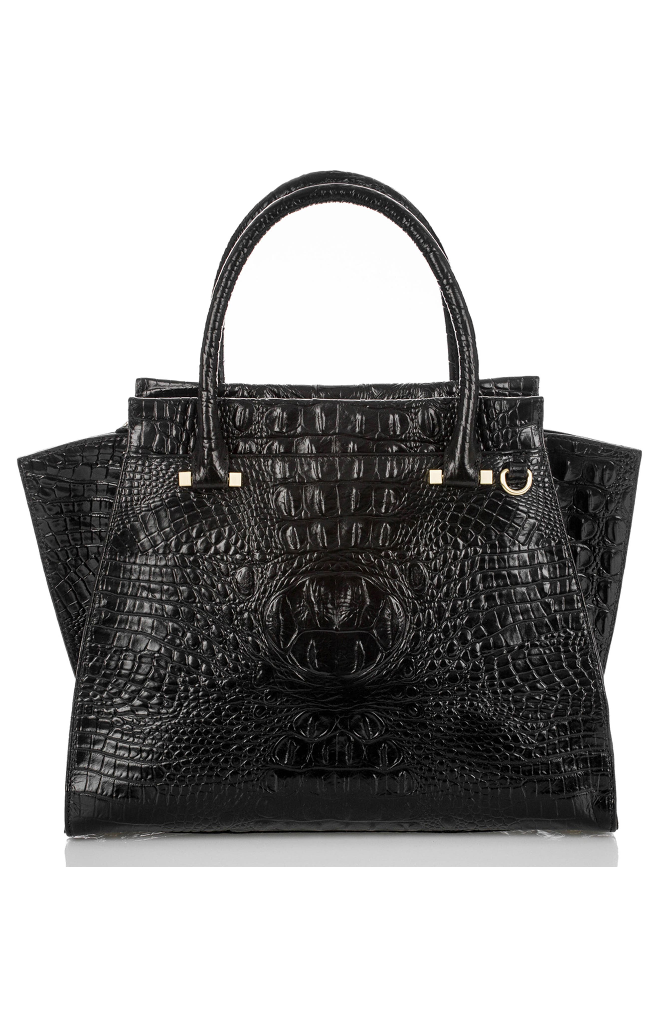 'Priscilla' Croc Embossed Leather Satchel,                             Alternate thumbnail 3, color,                             BLACK