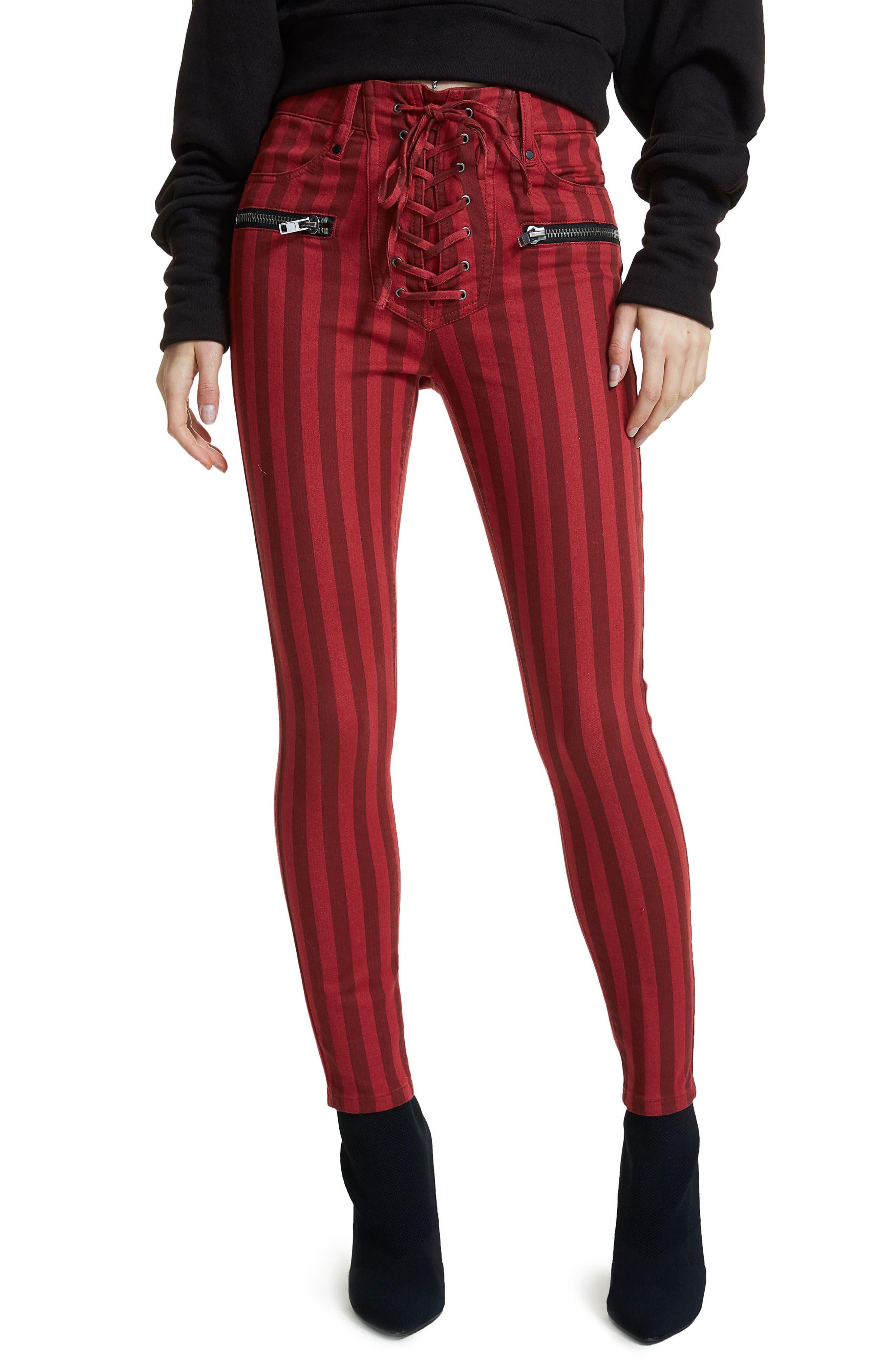 Alden Lace-Up Skinny Jeans,                             Main thumbnail 2, color,