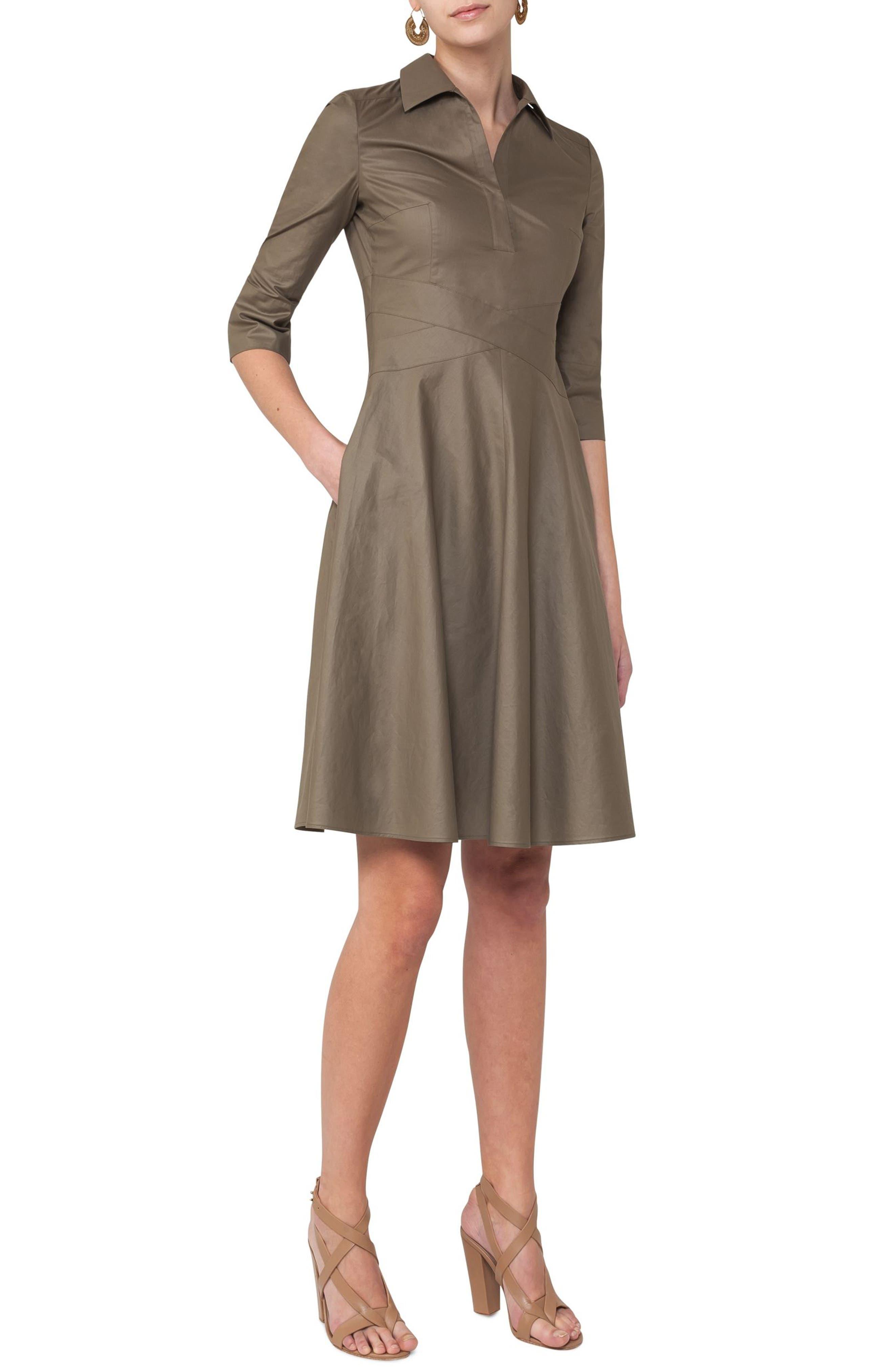 Poplin Fit & Flare Shirtdress,                             Main thumbnail 1, color,