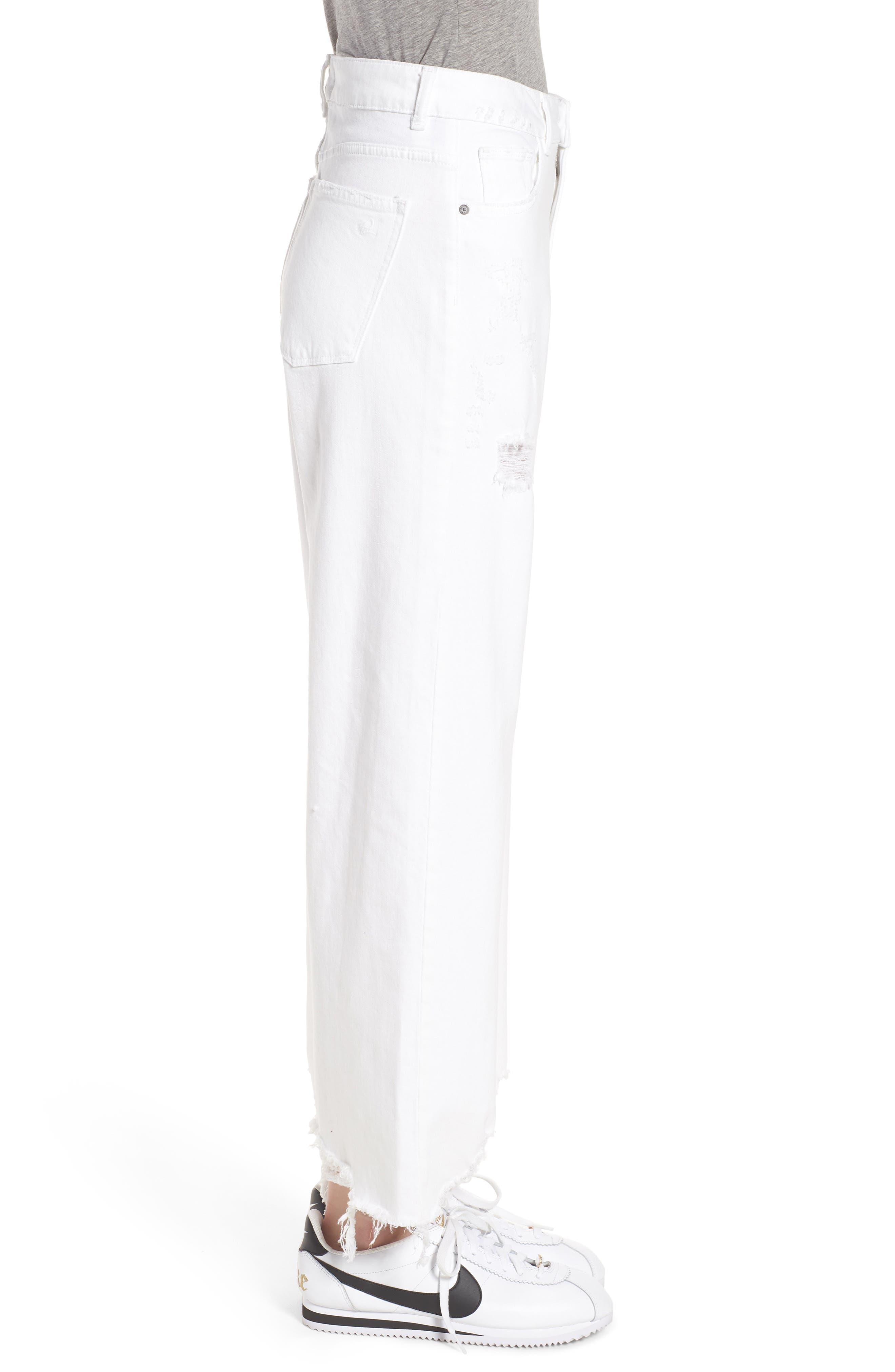 Hepburn High Waist Wide Leg Jeans,                             Alternate thumbnail 3, color,                             100