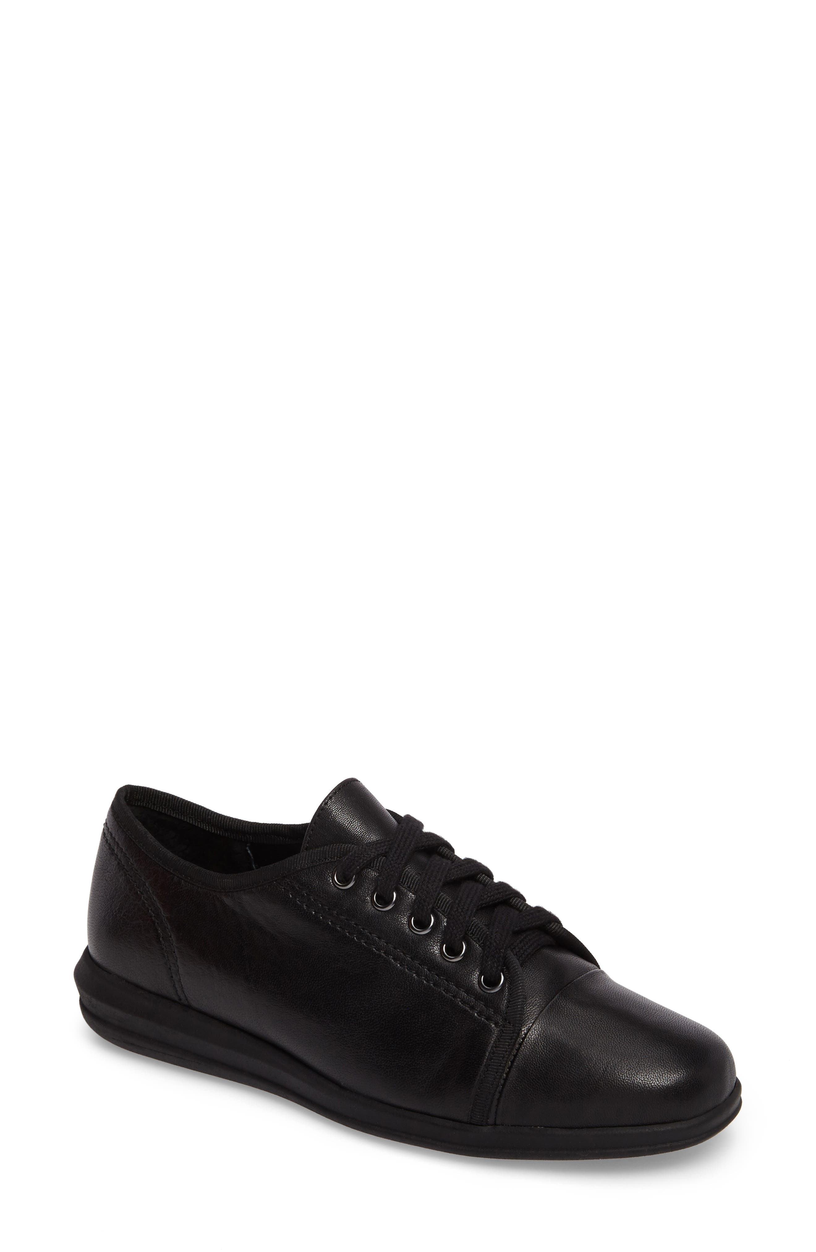 Siren Sneaker,                         Main,                         color, BLACK LEATHER