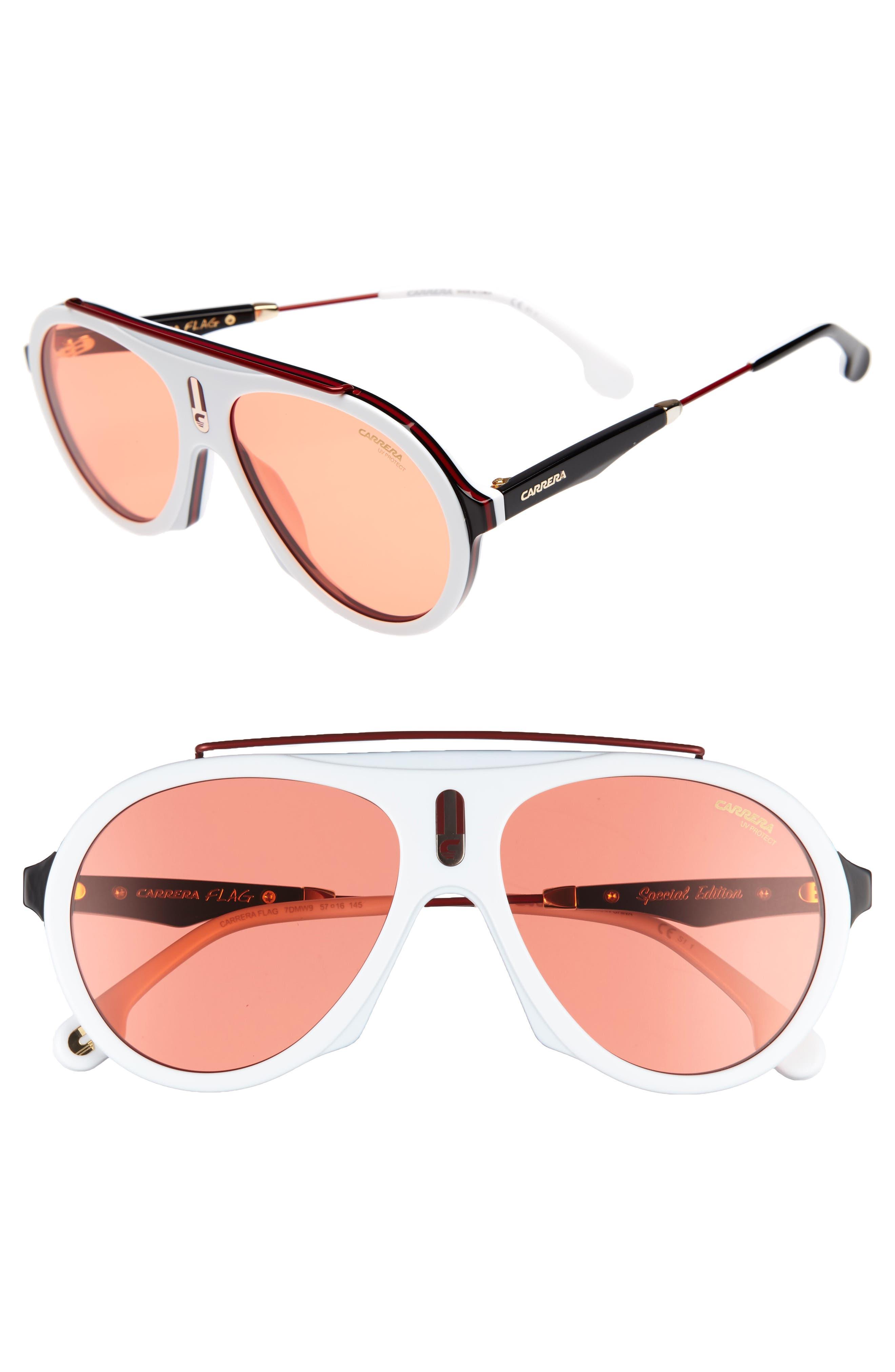 Carrera Flag 57mm Mirrored Pilot Sunglasses,                             Main thumbnail 4, color,