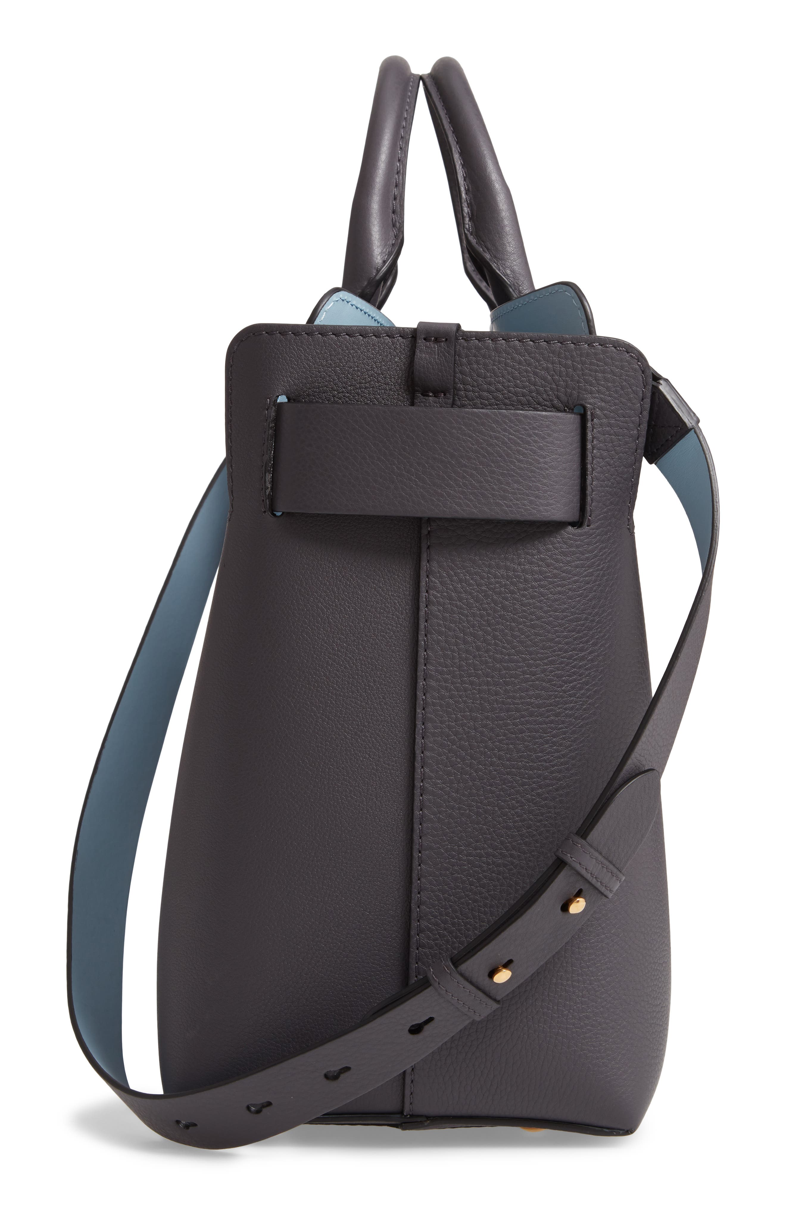 Medium Leather Belted Bag,                             Alternate thumbnail 5, color,                             CHARCOAL GREY