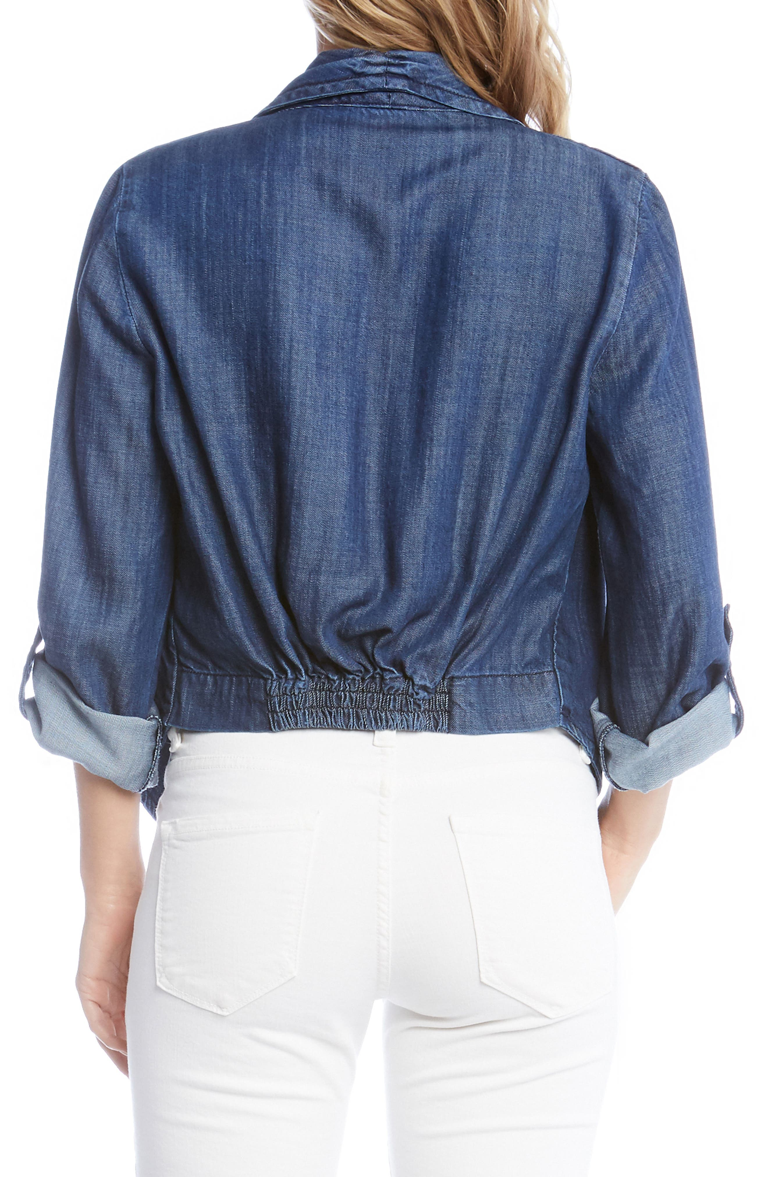 Shirred Back Denim Jacket,                             Alternate thumbnail 2, color,