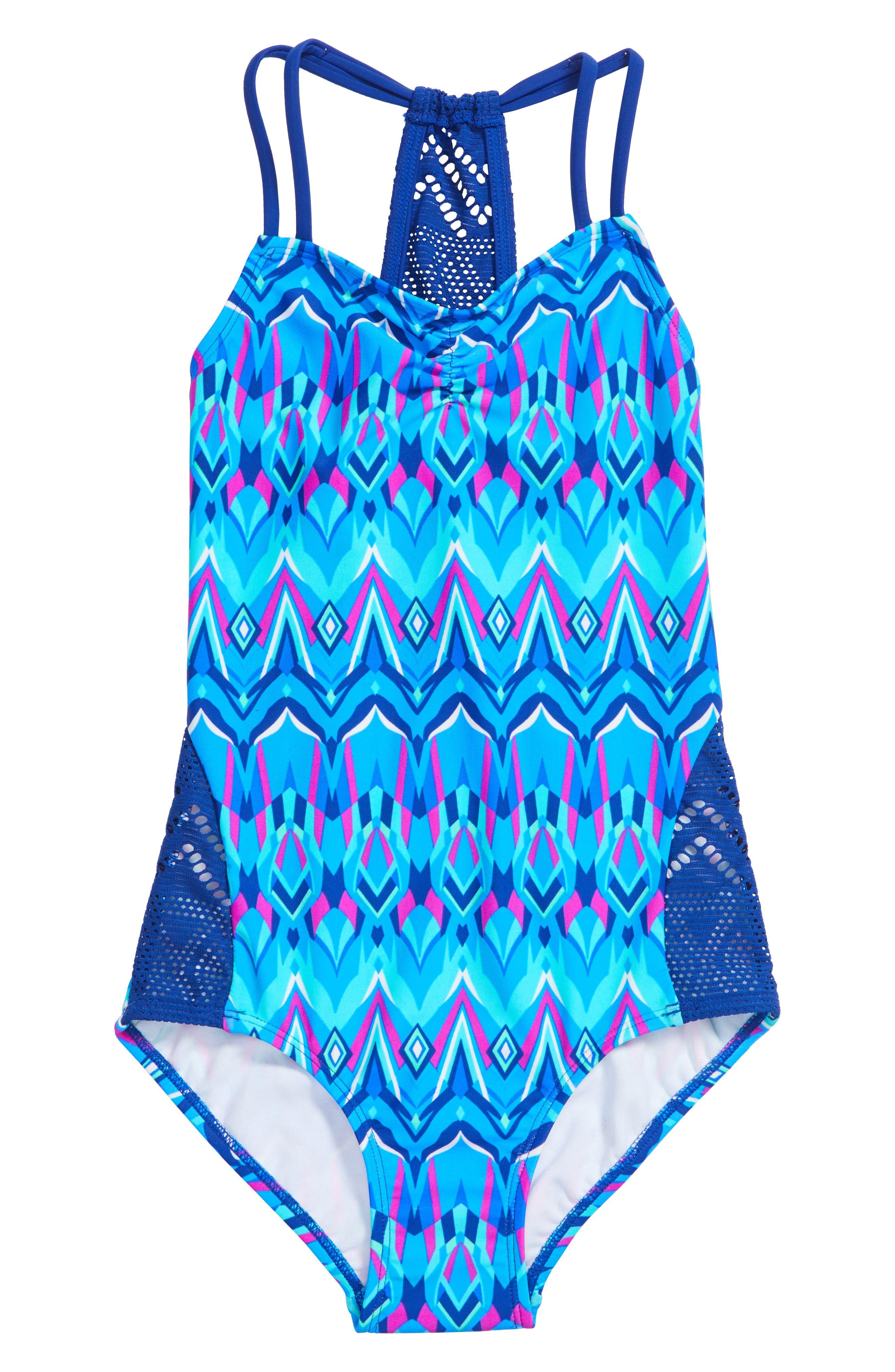 Kaleidoscope One-Piece Swimsuit,                             Main thumbnail 1, color,                             476