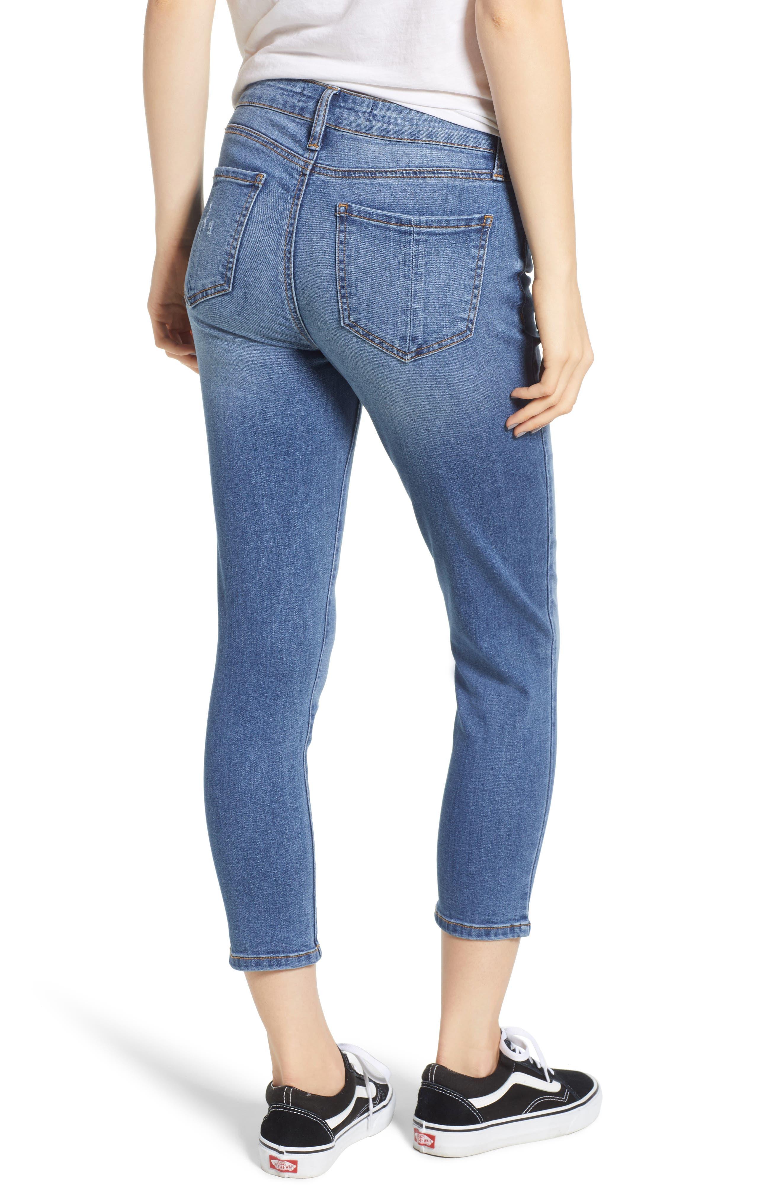 Crop Skinny Jeans,                             Alternate thumbnail 2, color,                             MEDIUM WASH