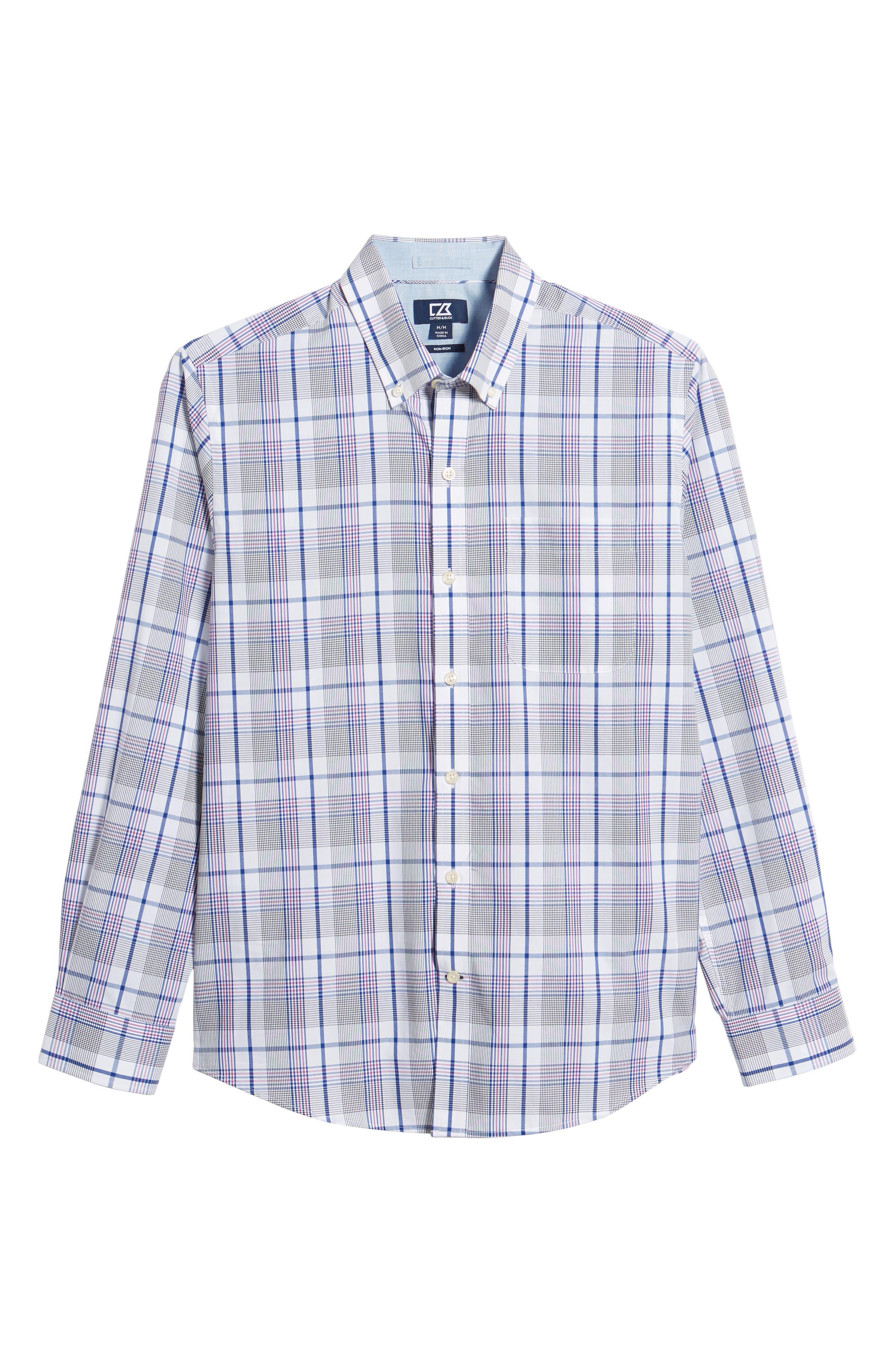 Aidan Non-Iron Plaid Sport Shirt,                             Alternate thumbnail 6, color,                             419