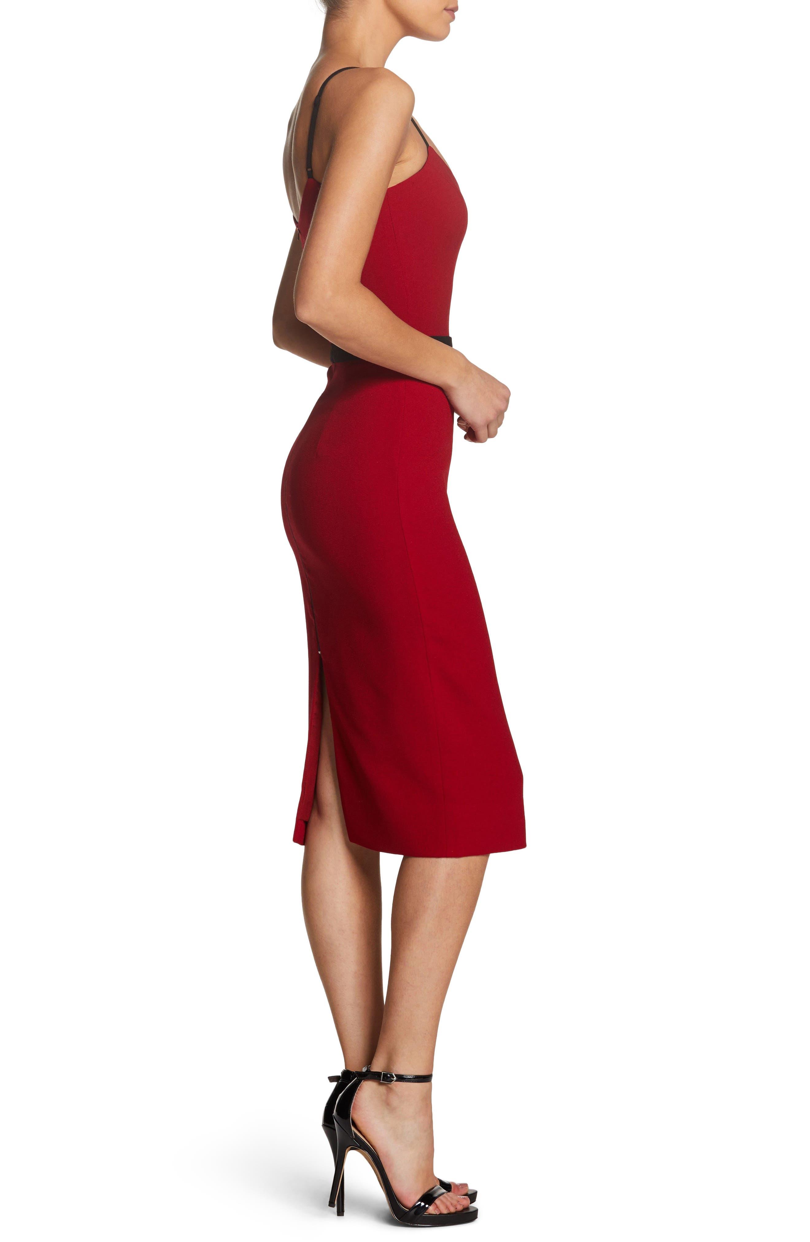 Emma Spaghetti Strap Body-Con Dress,                             Alternate thumbnail 3, color,                             GARNET