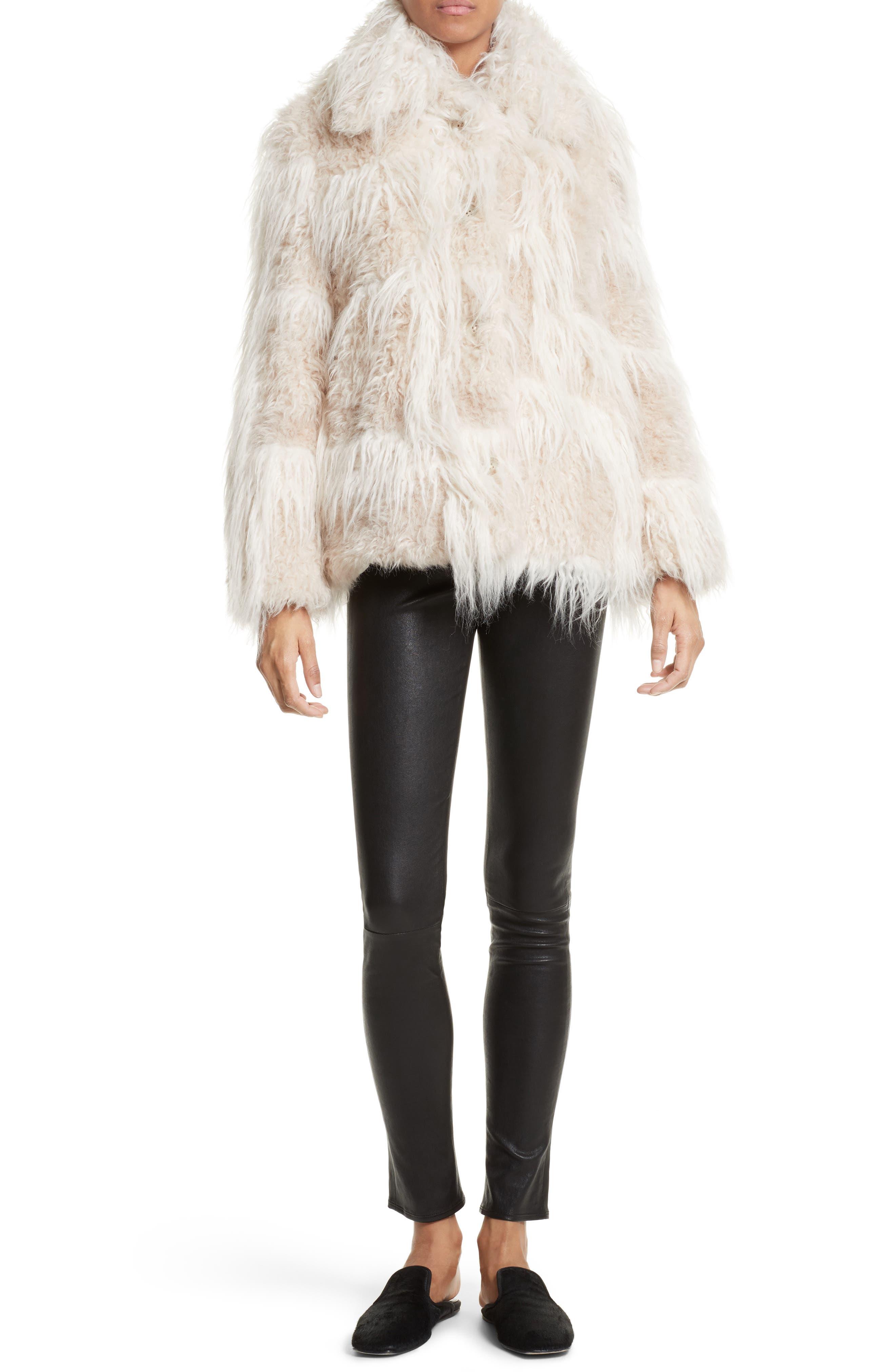 Stretch Lambskin Leather Leggings,                         Main,                         color, BLACK