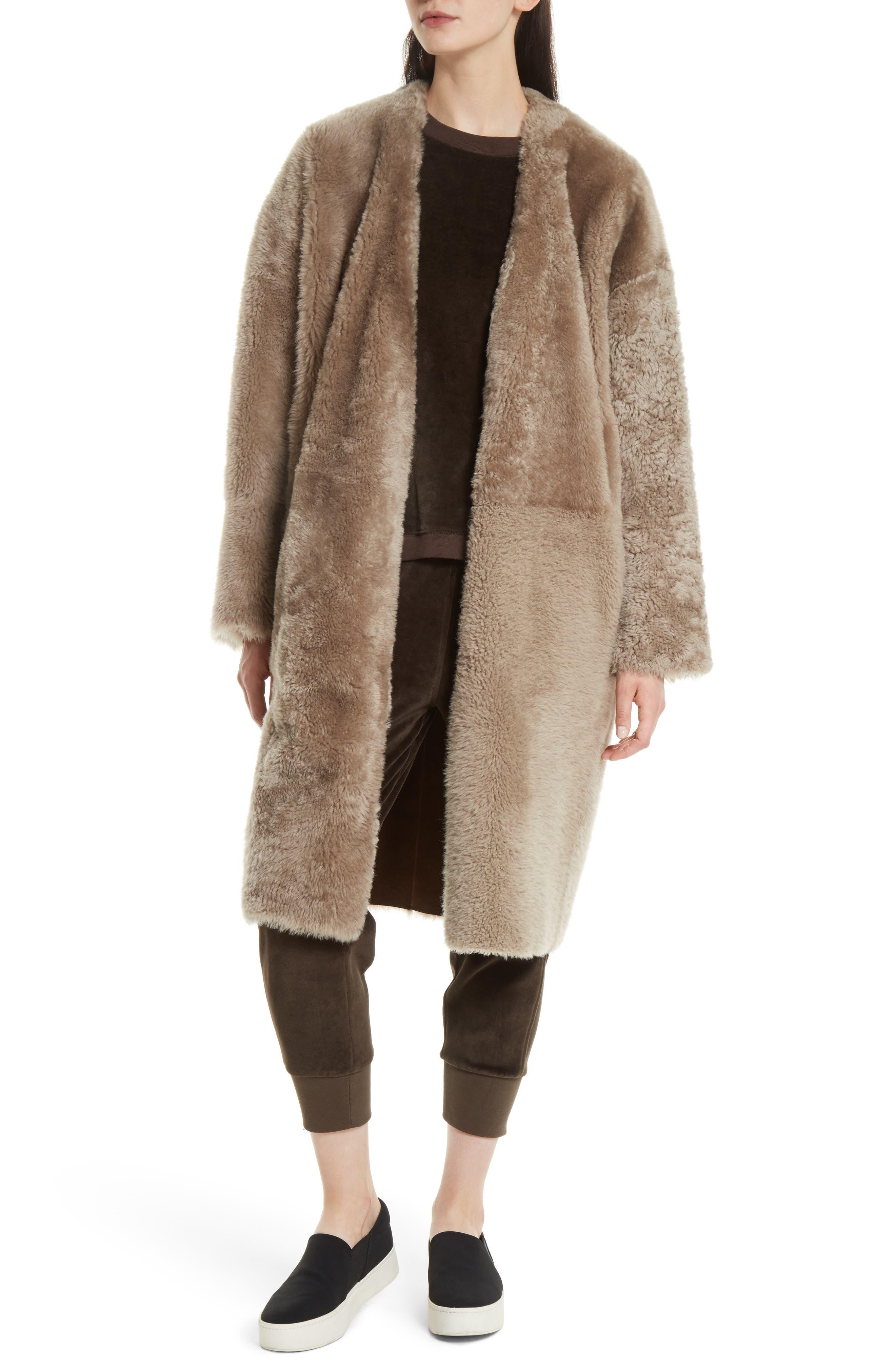 Genuine Shearling Reversible Coat,                         Main,                         color, 208