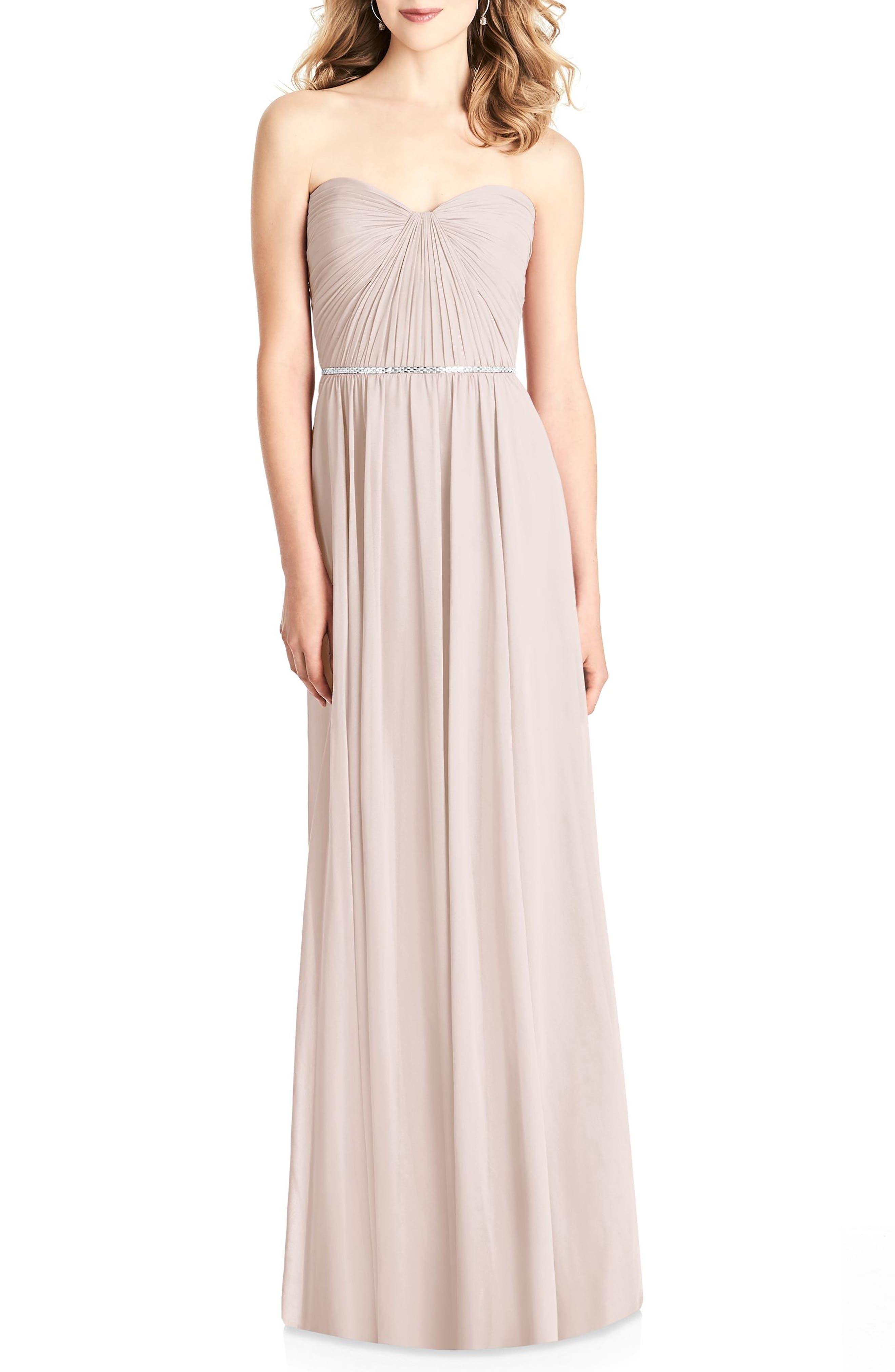 Jenny Packham Strapless Chiffon Gown, Pink