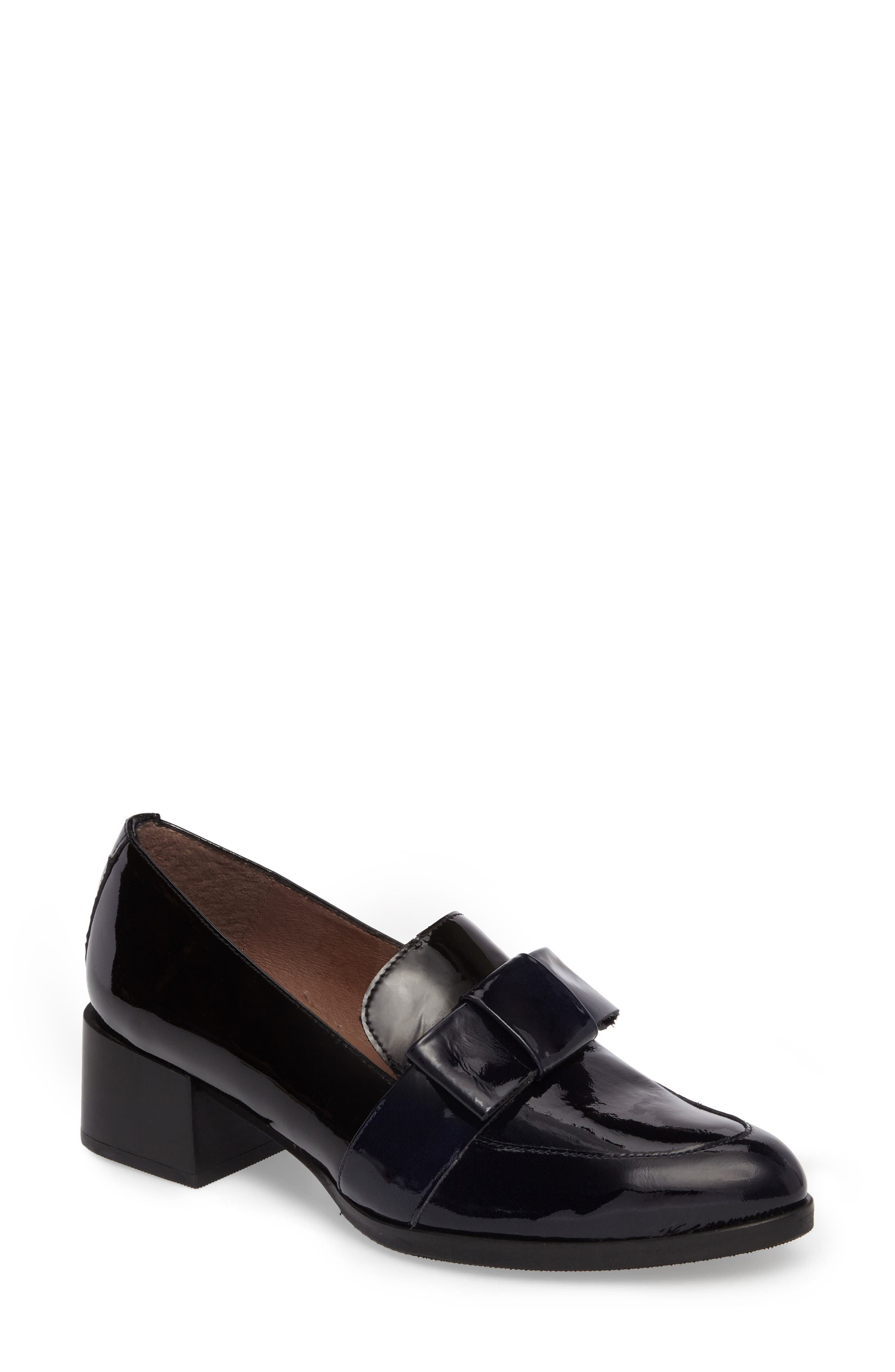 Block Heel Loafer Pump,                             Main thumbnail 1, color,                             NAVY/ BLACK PATENT LEATHER