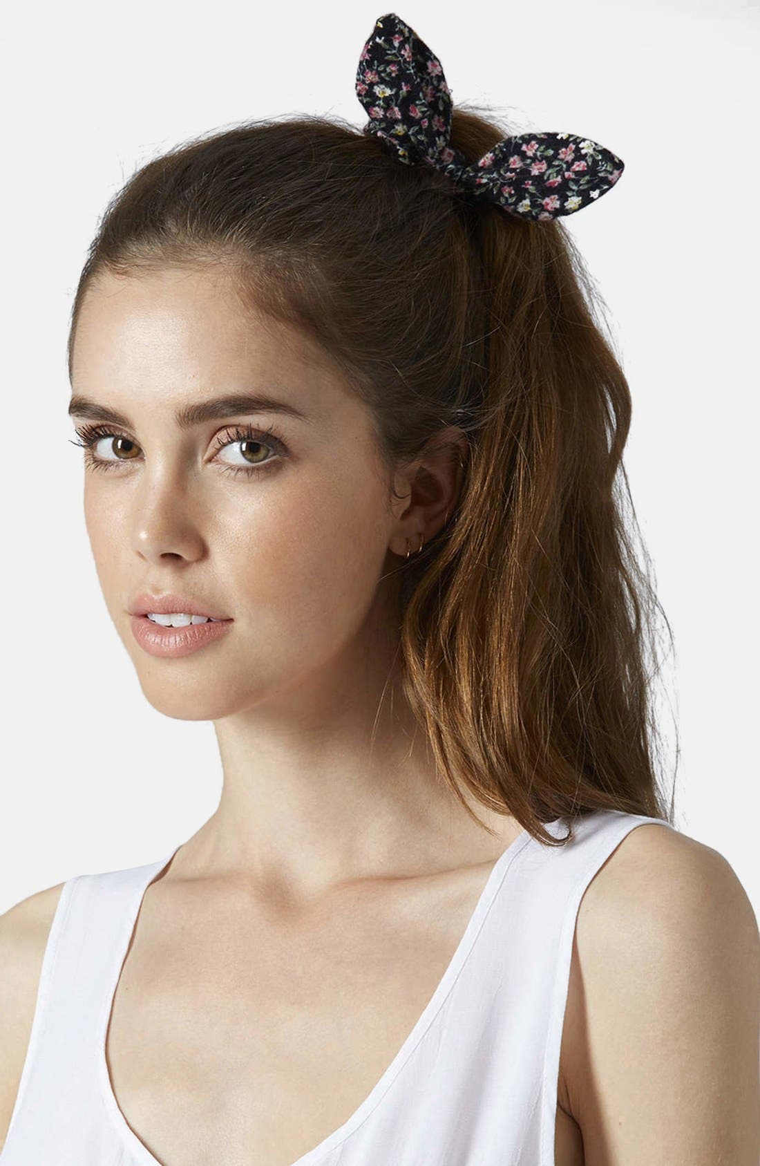 Ditsy Floral Bunny Ears Scrunchie,                             Alternate thumbnail 2, color,                             001