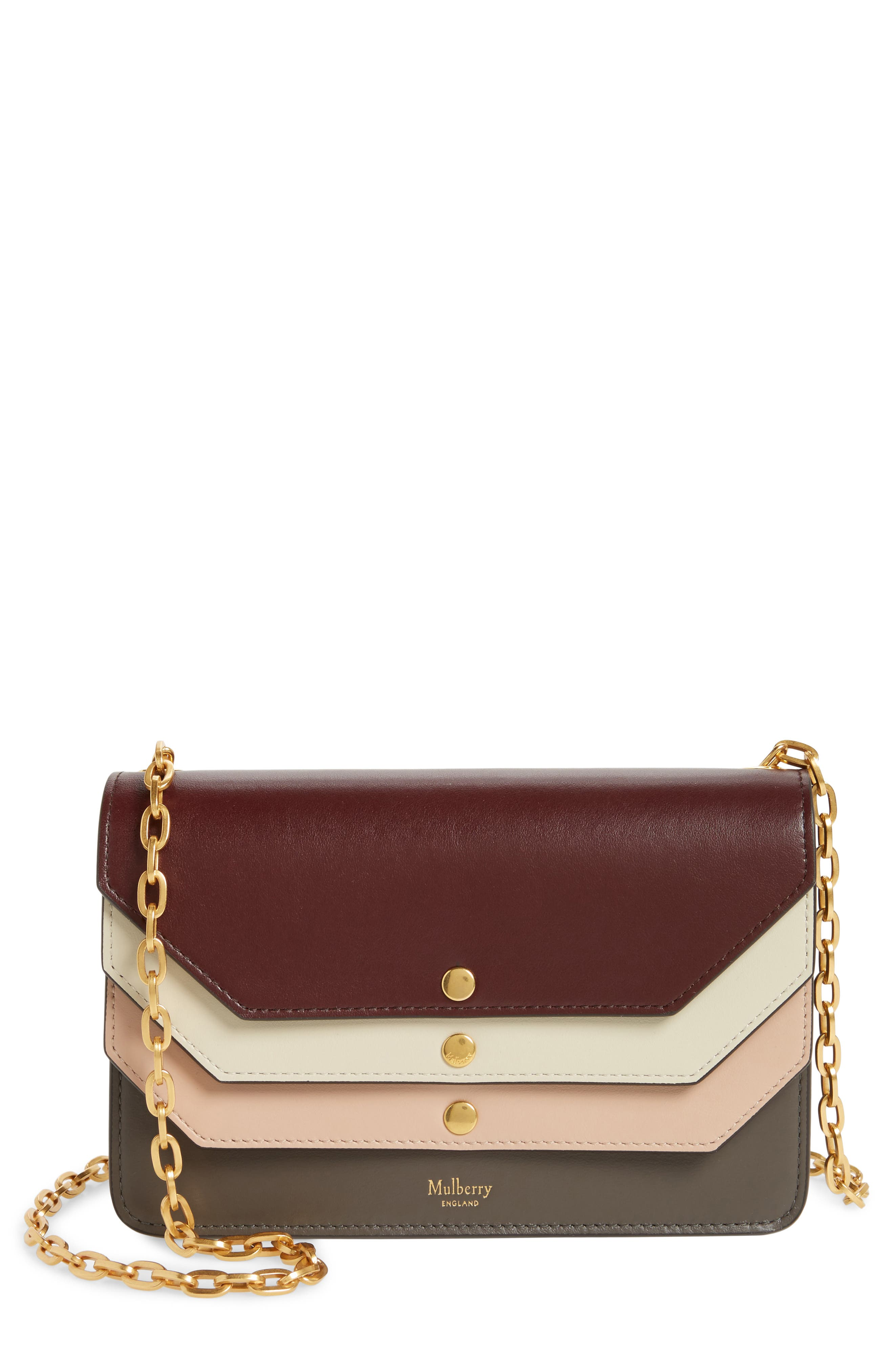 Multiflap Calfskin Leather Clutch,                             Main thumbnail 2, color,