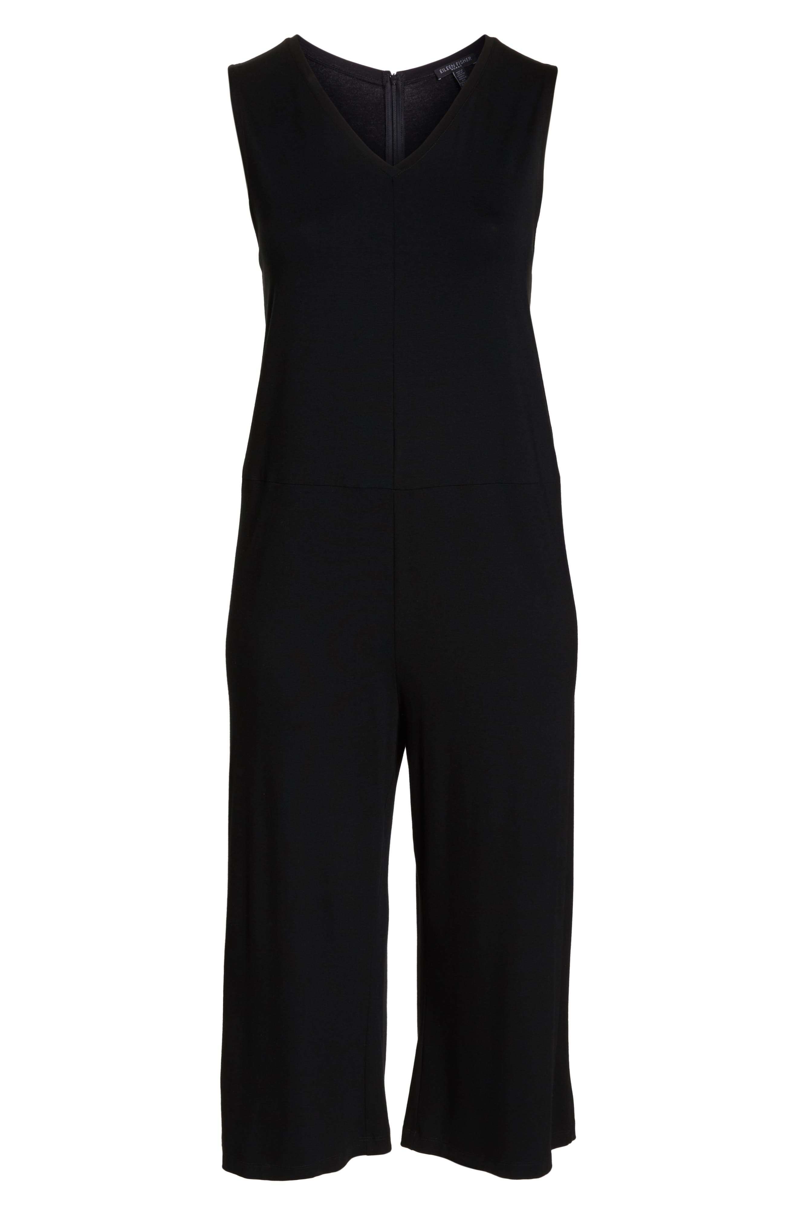 Sleeveless Crop Jumpsuit,                             Alternate thumbnail 7, color,                             001