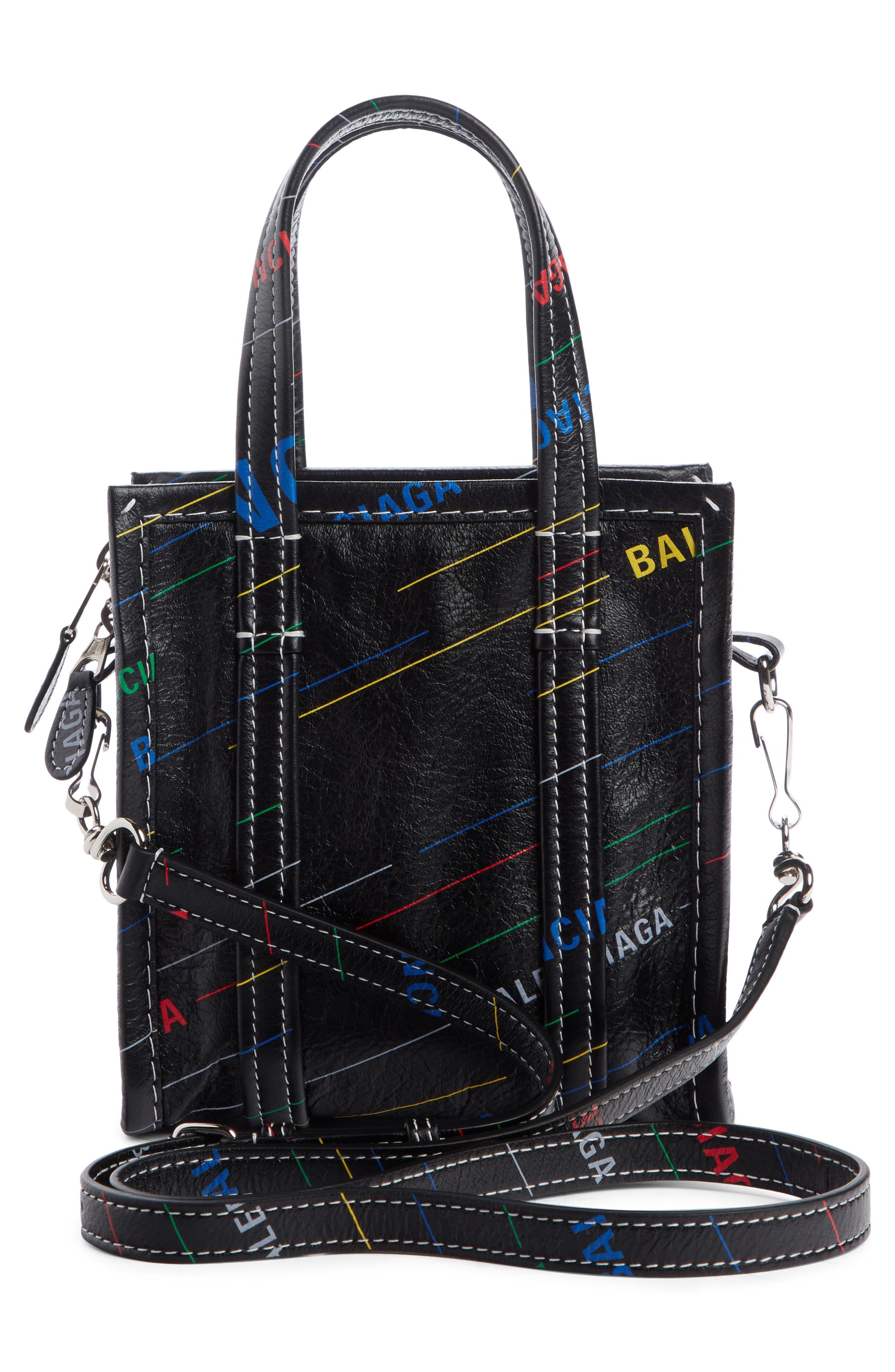 Extra Extra Small Bazar AJ Lambskin Shopper,                             Alternate thumbnail 3, color,                             NOIR MULTI