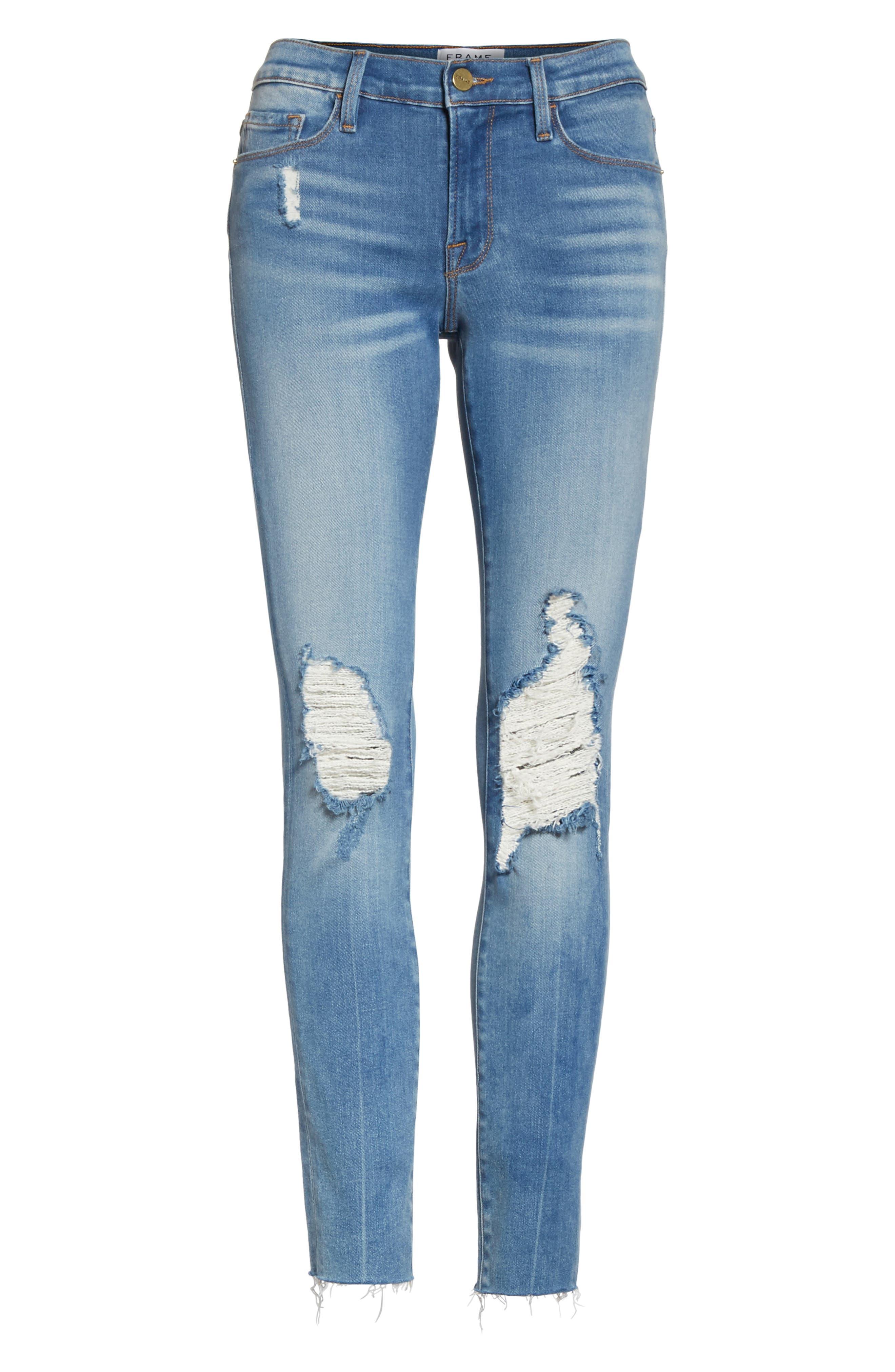 Le Skinny de Jeanne Raw Edge Crop Skinny Jeans,                             Alternate thumbnail 6, color,                             420