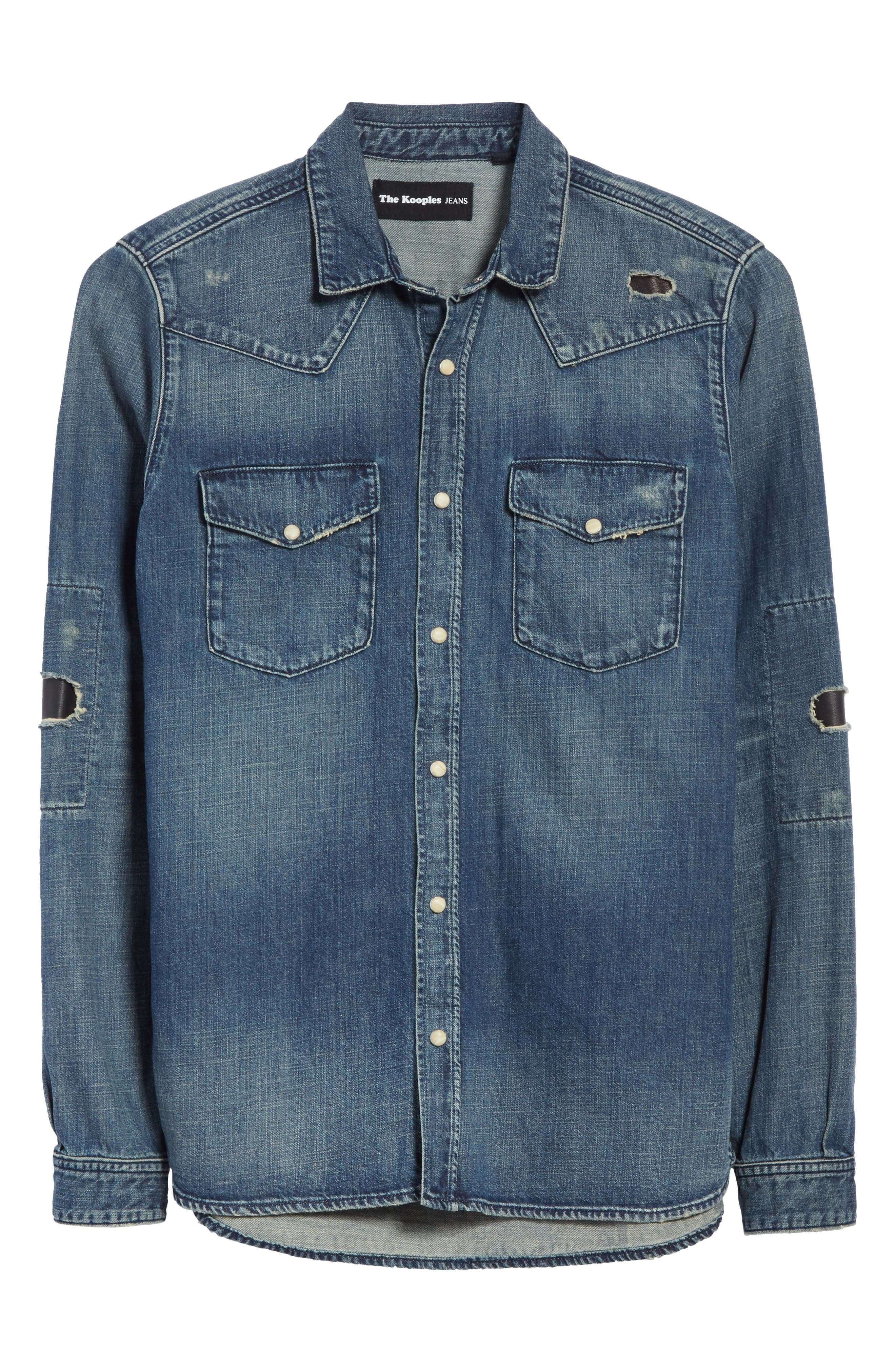 Distressed Denim Western Shirt,                             Alternate thumbnail 6, color,                             400