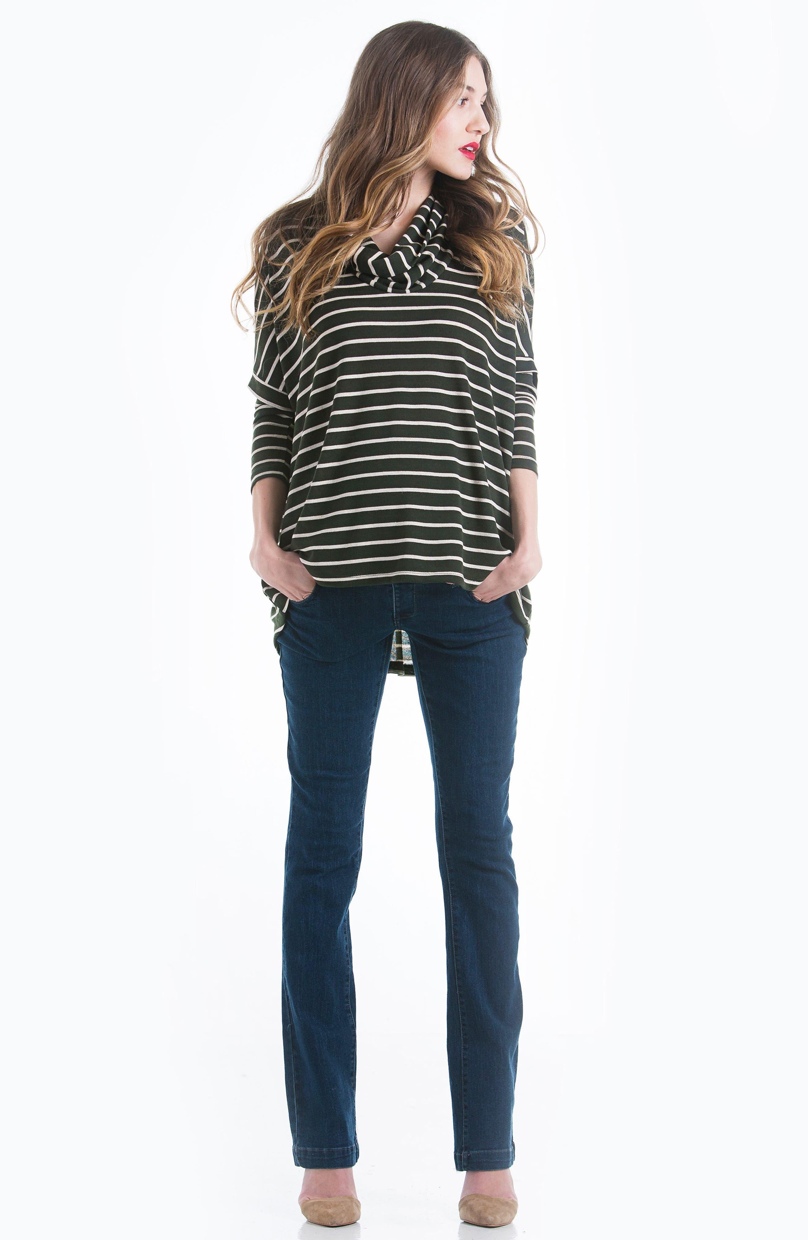 Stripe Cowl Neck Maternity Sweater,                             Alternate thumbnail 3, color,                             300