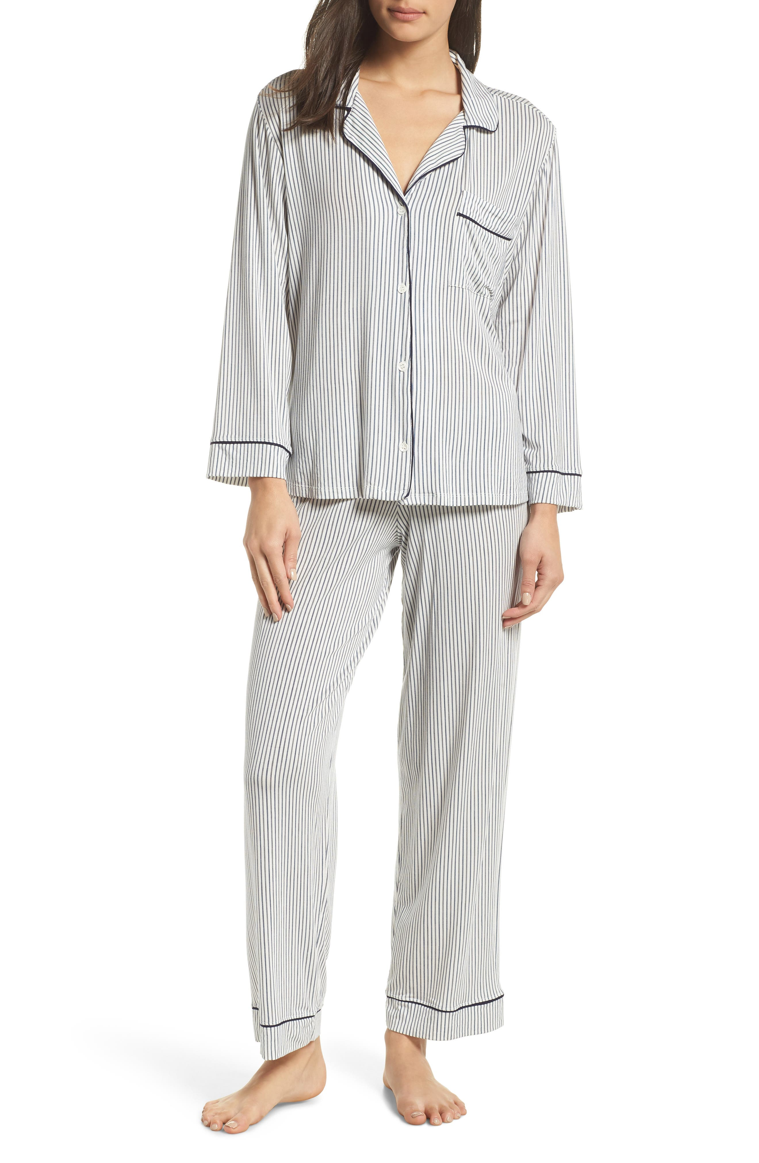 EBERJEY Sleep Chic Pajamas, Main, color, NORDIC STRPS/ NORTHERN LIGHTS