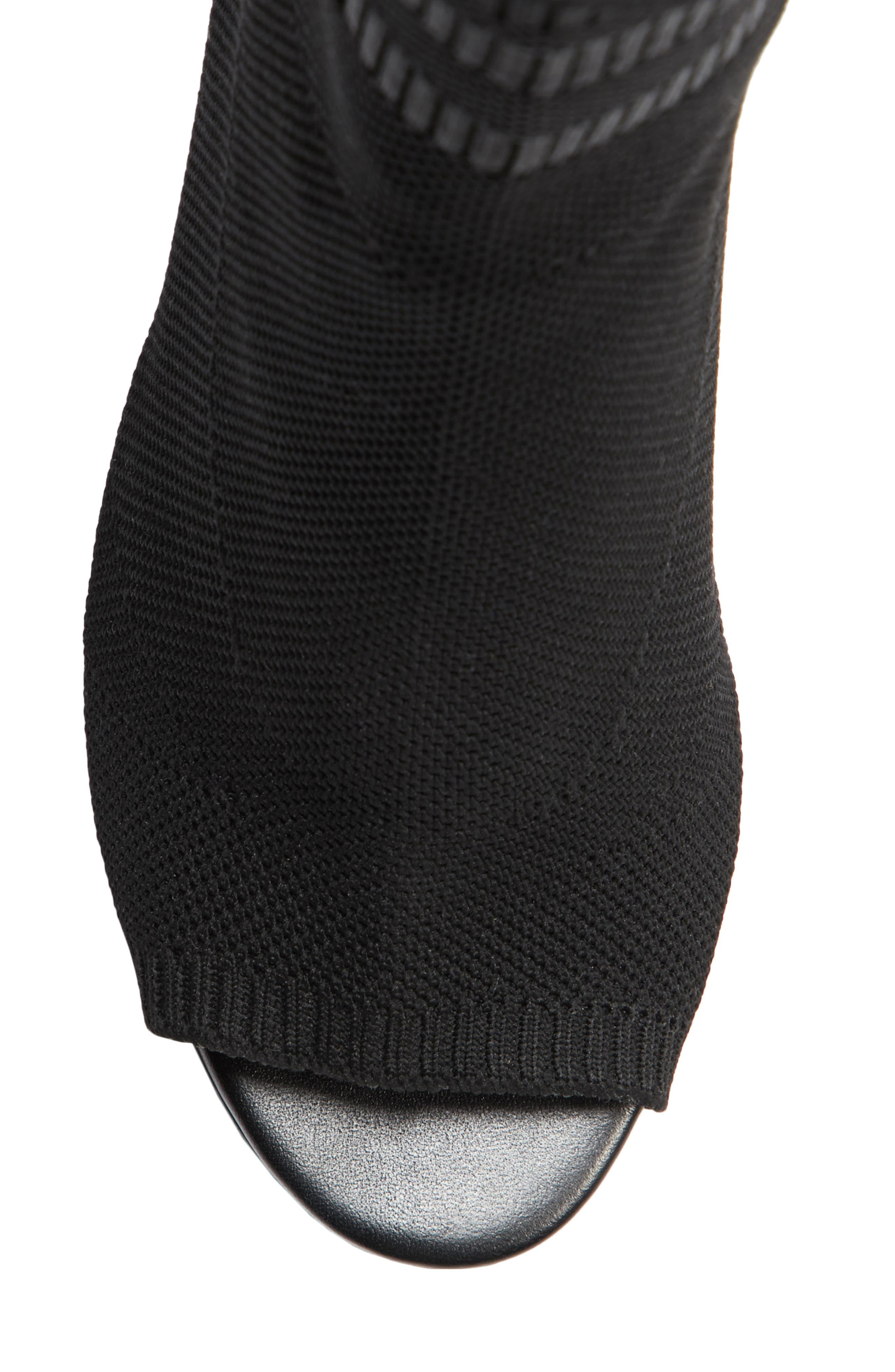 Cat Knit Sock Boot,                             Alternate thumbnail 5, color,                             BLACK