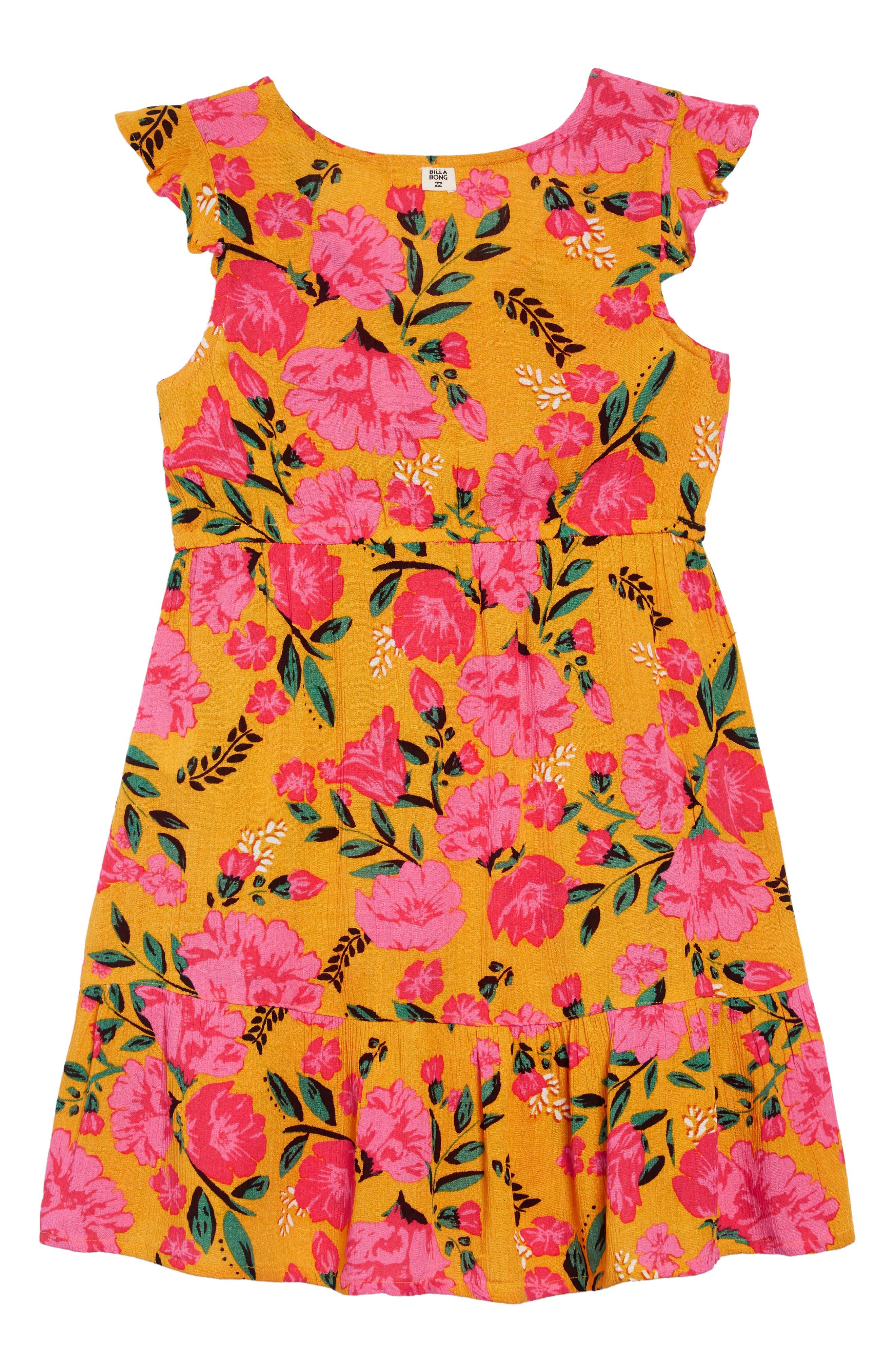 BILLABONG,                             Sing It Print Dress,                             Alternate thumbnail 2, color,                             GOLDEN GLOW