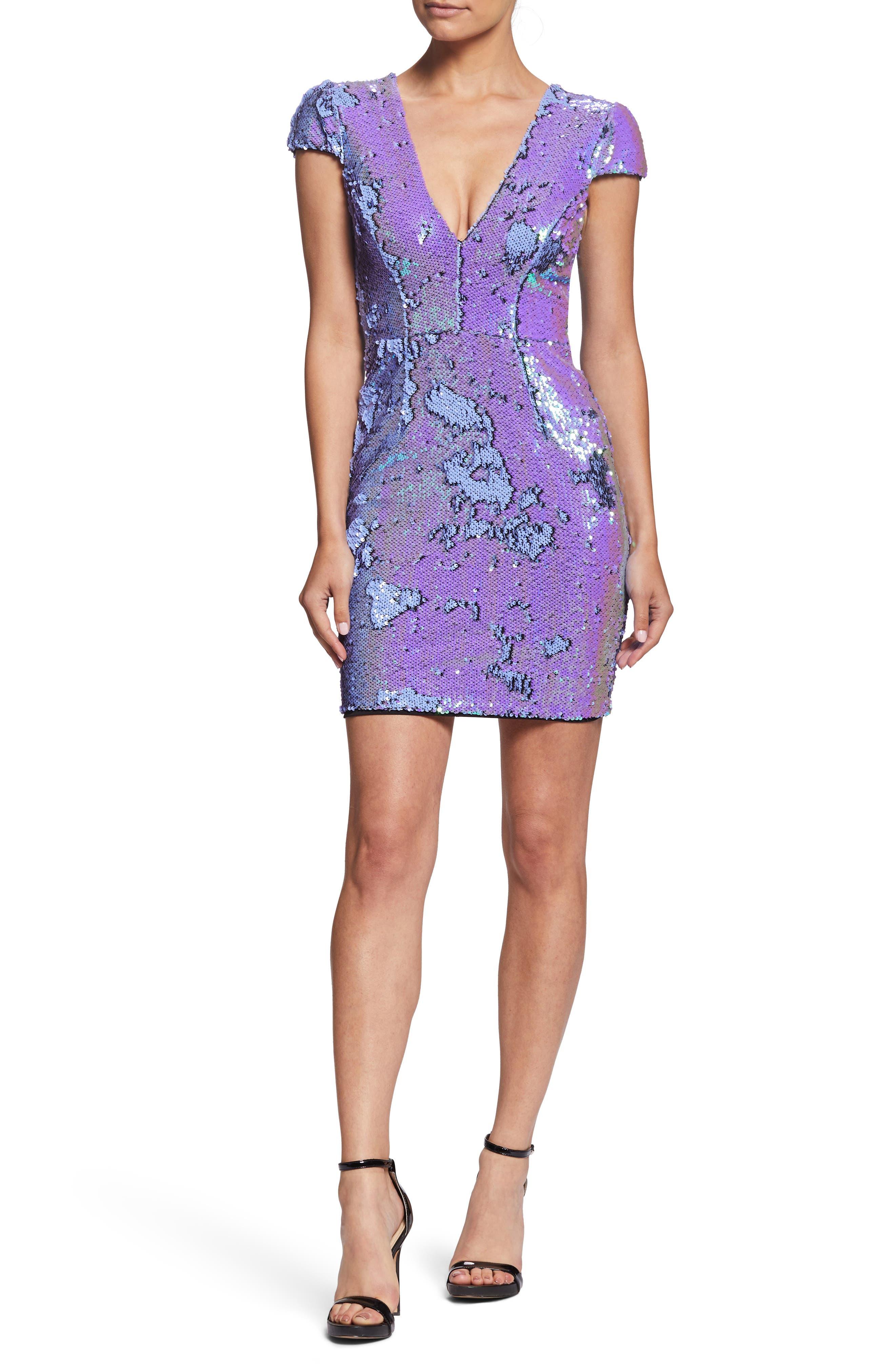DRESS THE POPULATION Zoe Plunge Neck Sheath Dress in Ultra Violet