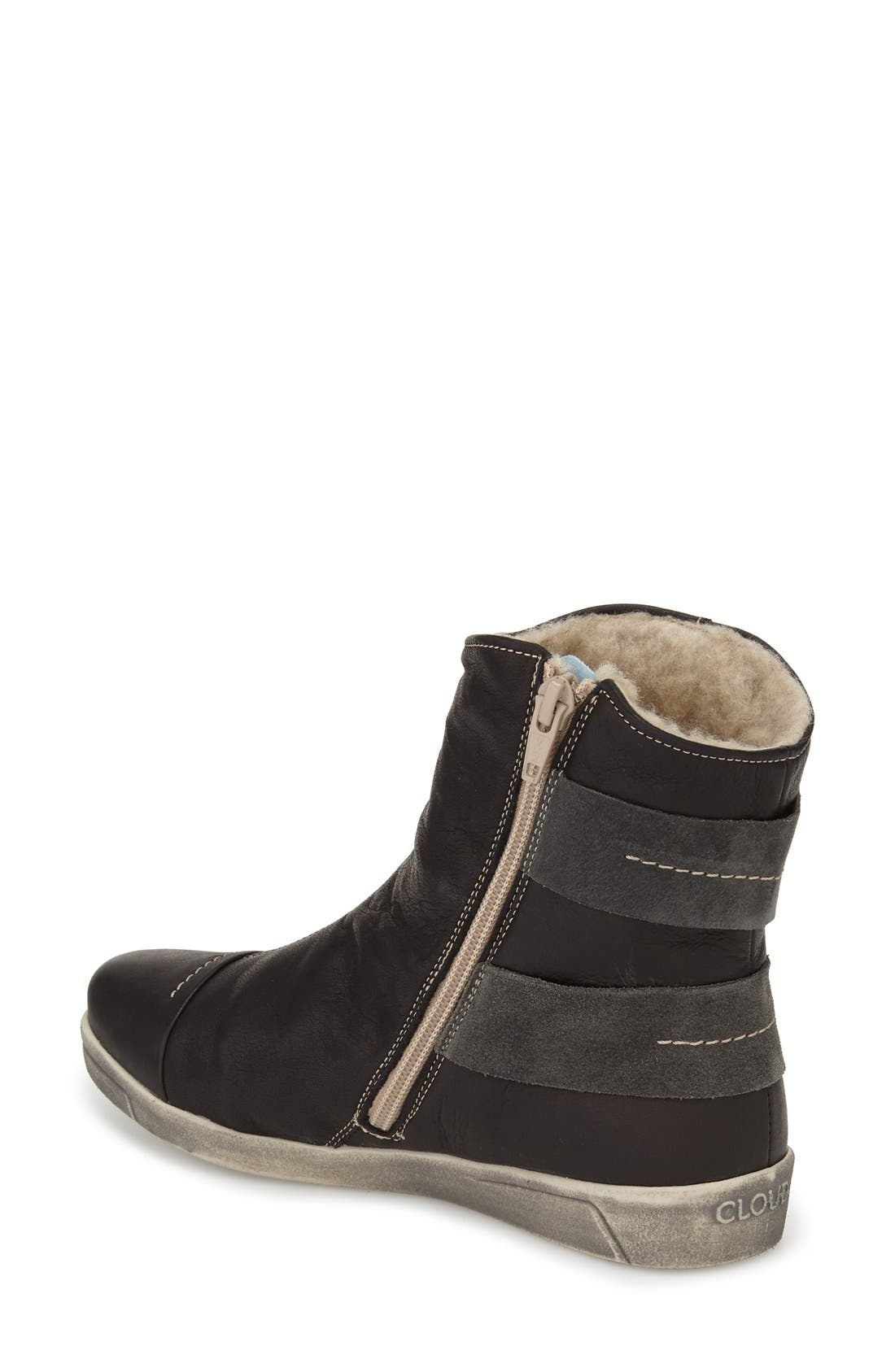Aline Fantasy Shearling Lined Boot,                             Alternate thumbnail 2, color,                             BLACK LEATHER