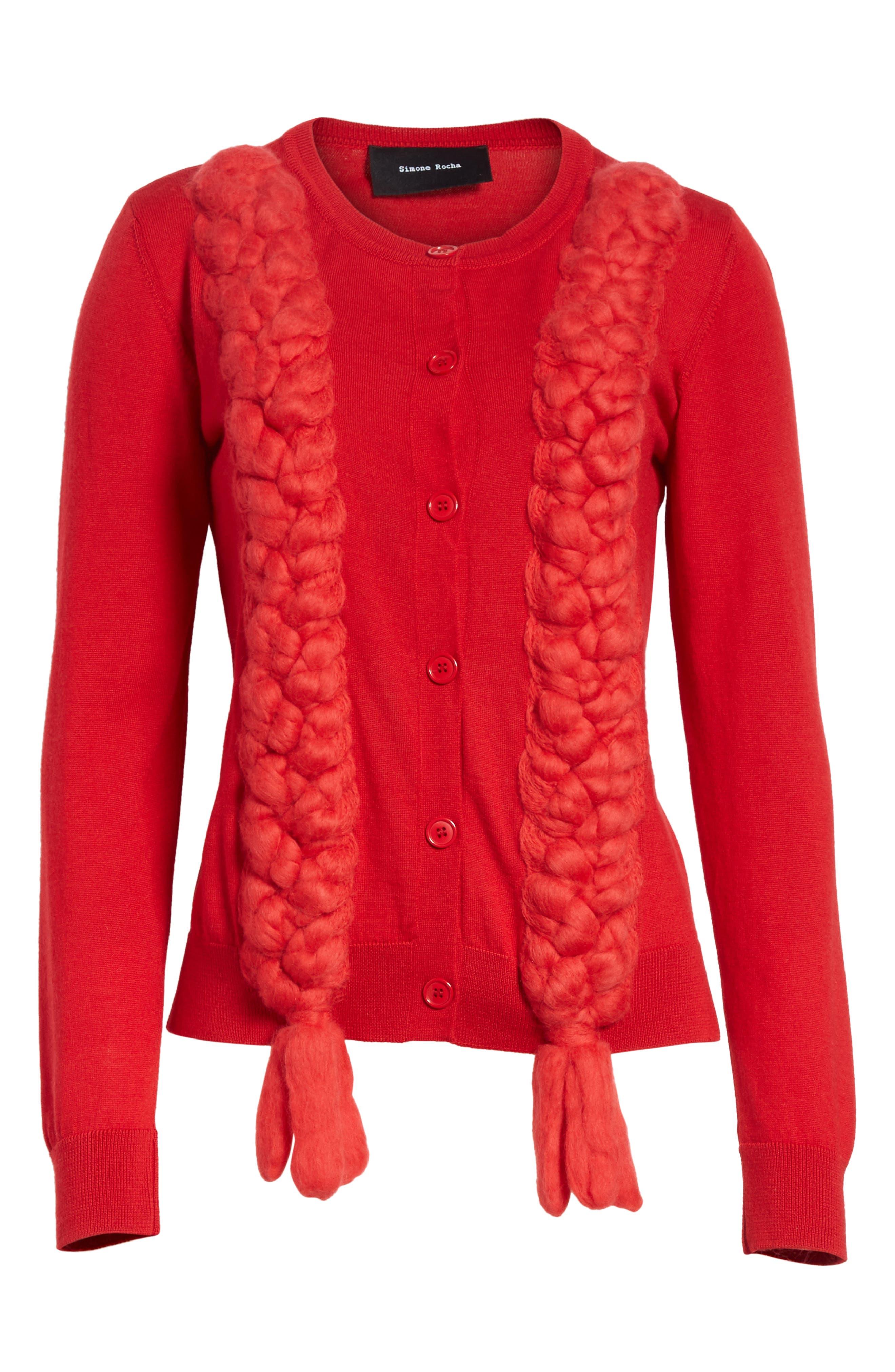 Felted Plait Merino, Silk & Cashmere Button Cardigan,                             Alternate thumbnail 6, color,                             600