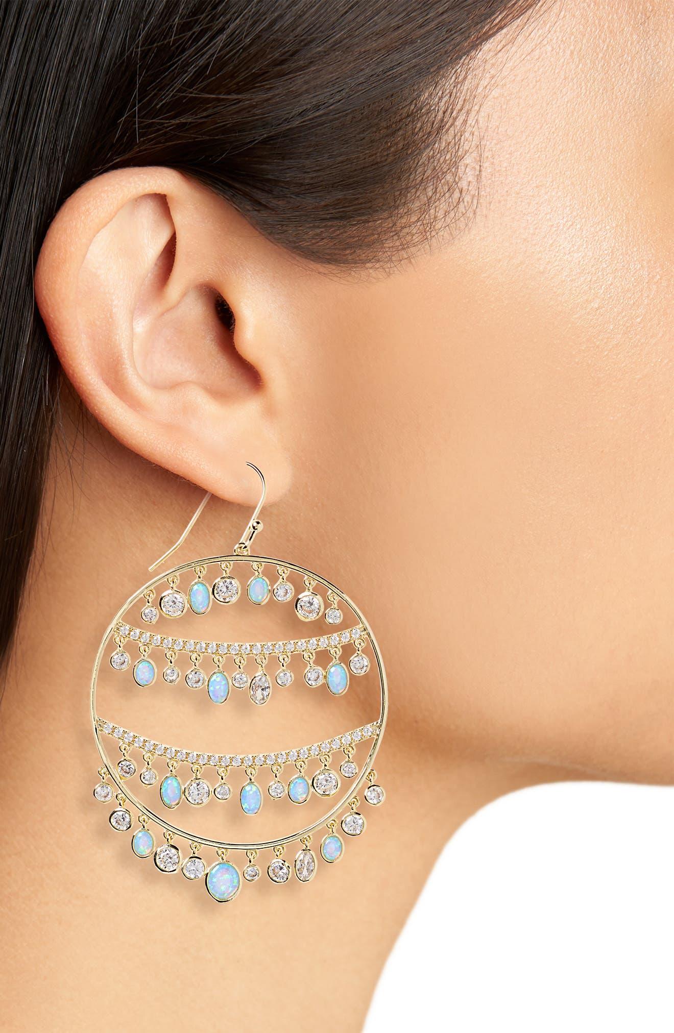 Fox Opal & Crystal Drop Earrings,                             Alternate thumbnail 2, color,                             400