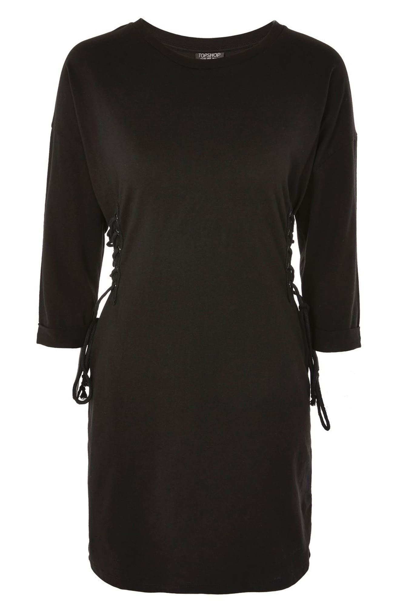 Lace-Up Side Tunic Dress,                             Alternate thumbnail 4, color,                             001