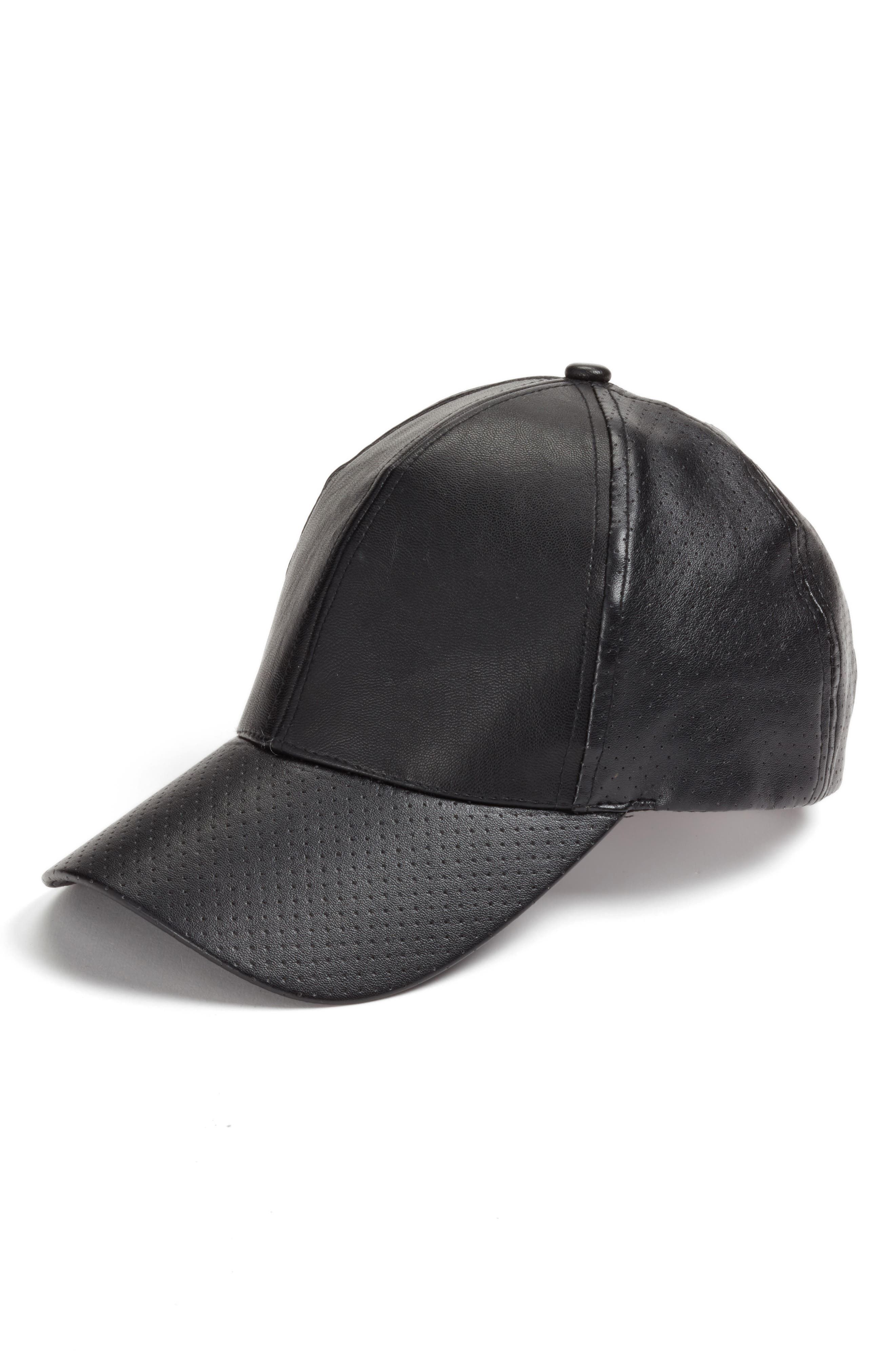 PHASE 3 Faux Leather Baseball Cap, Main, color, 001