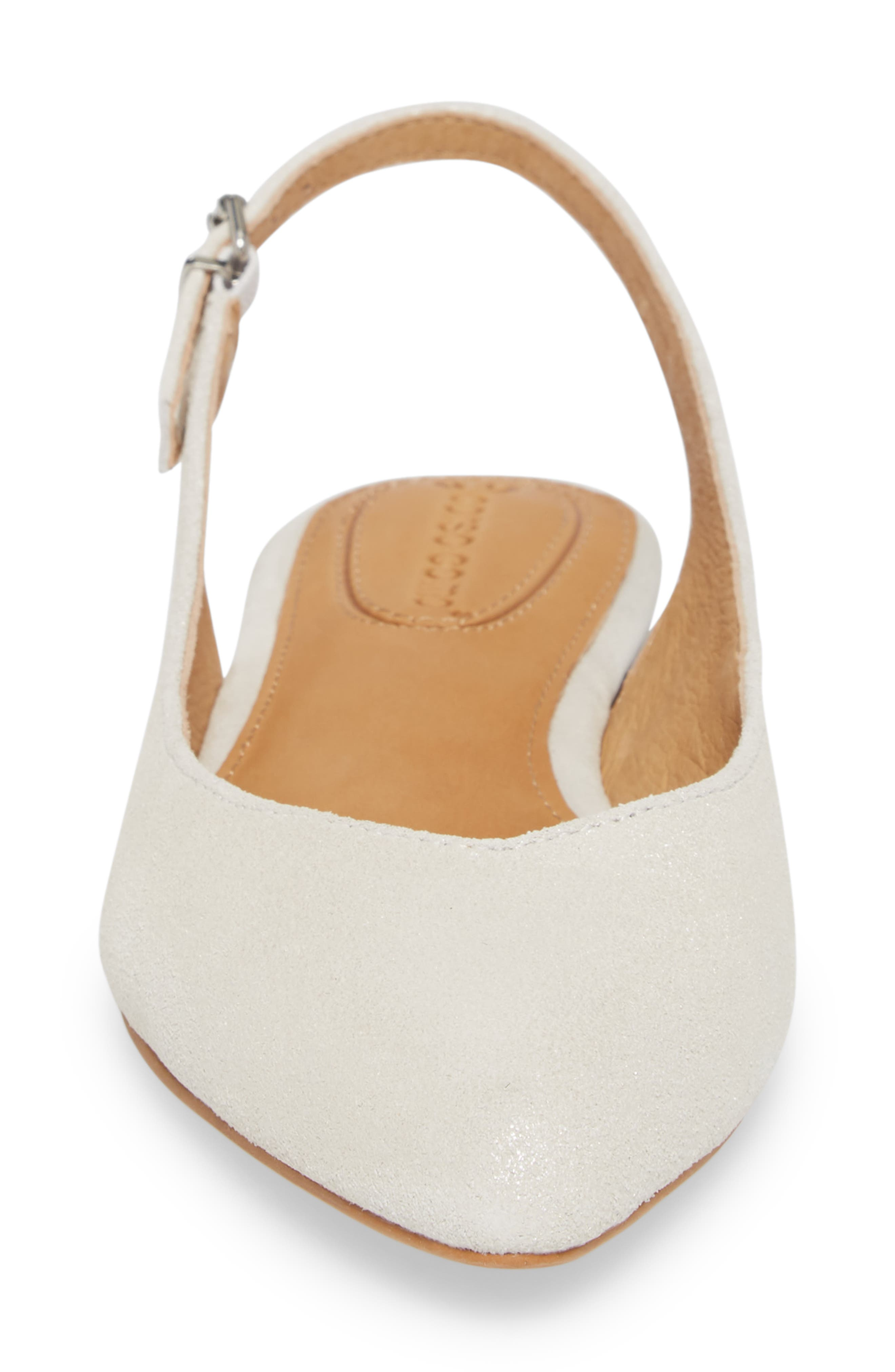 Jackey Slingback Flat,                             Alternate thumbnail 4, color,                             PLATINUM LEATHER