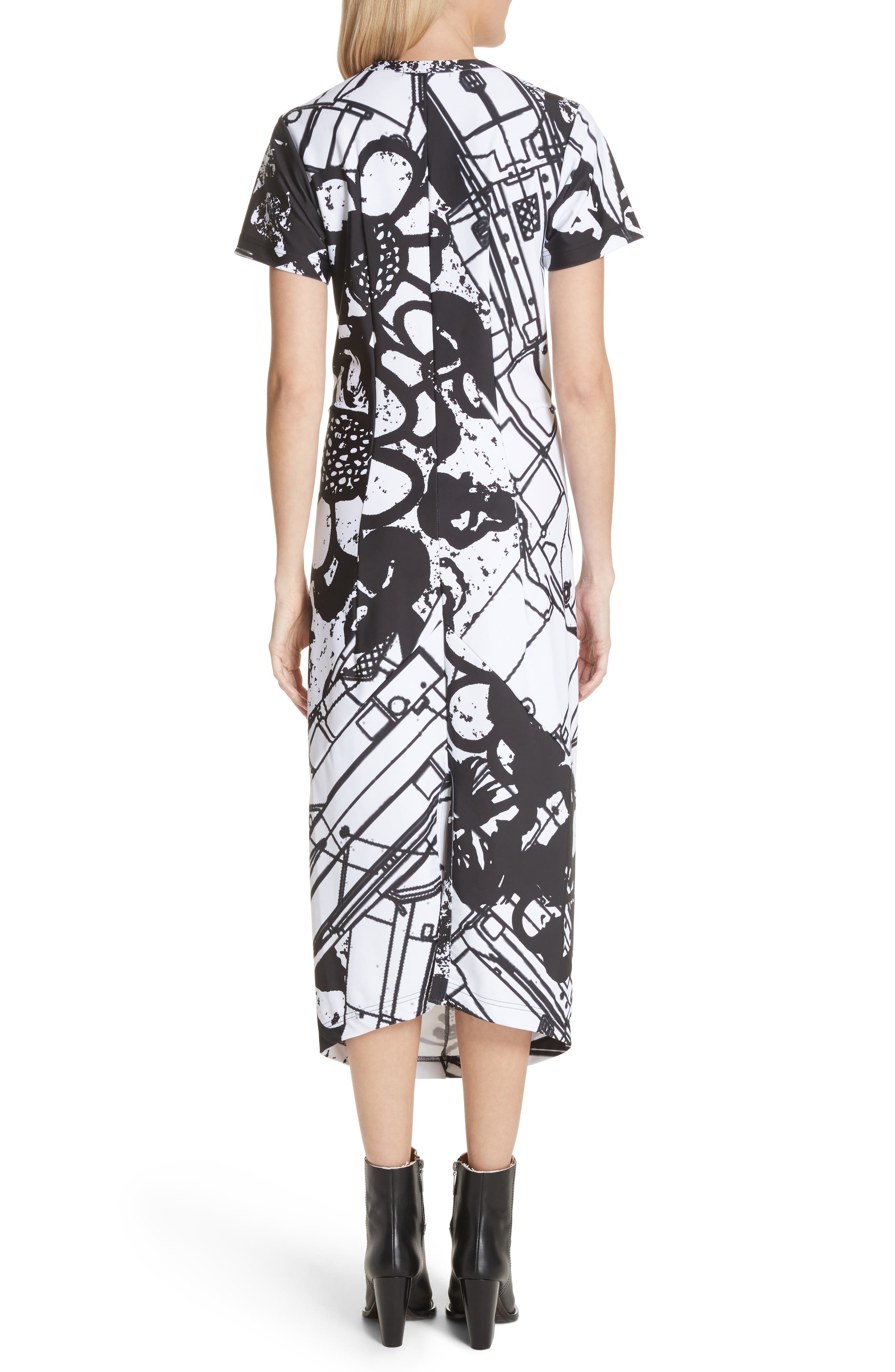 Graffiti Print T-Shirt Dress,                             Alternate thumbnail 2, color,                             100