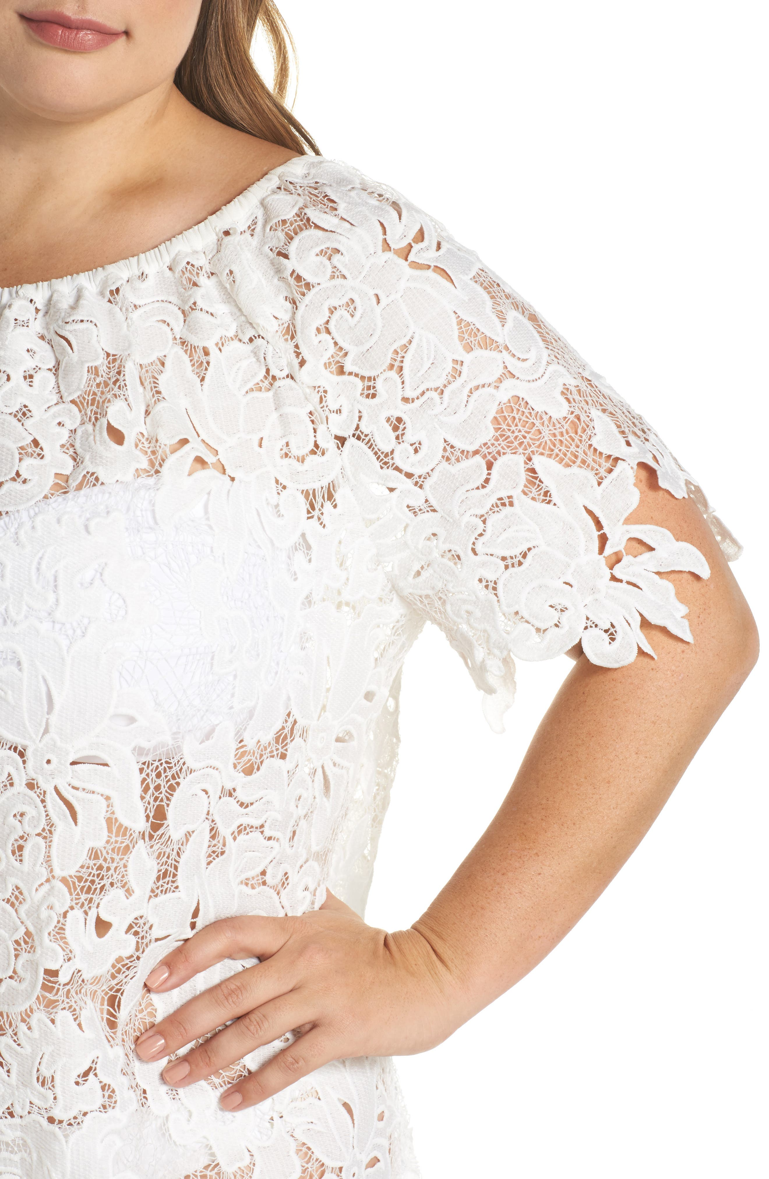 Ode Lace Cover-Up Dress,                             Alternate thumbnail 4, color,                             100