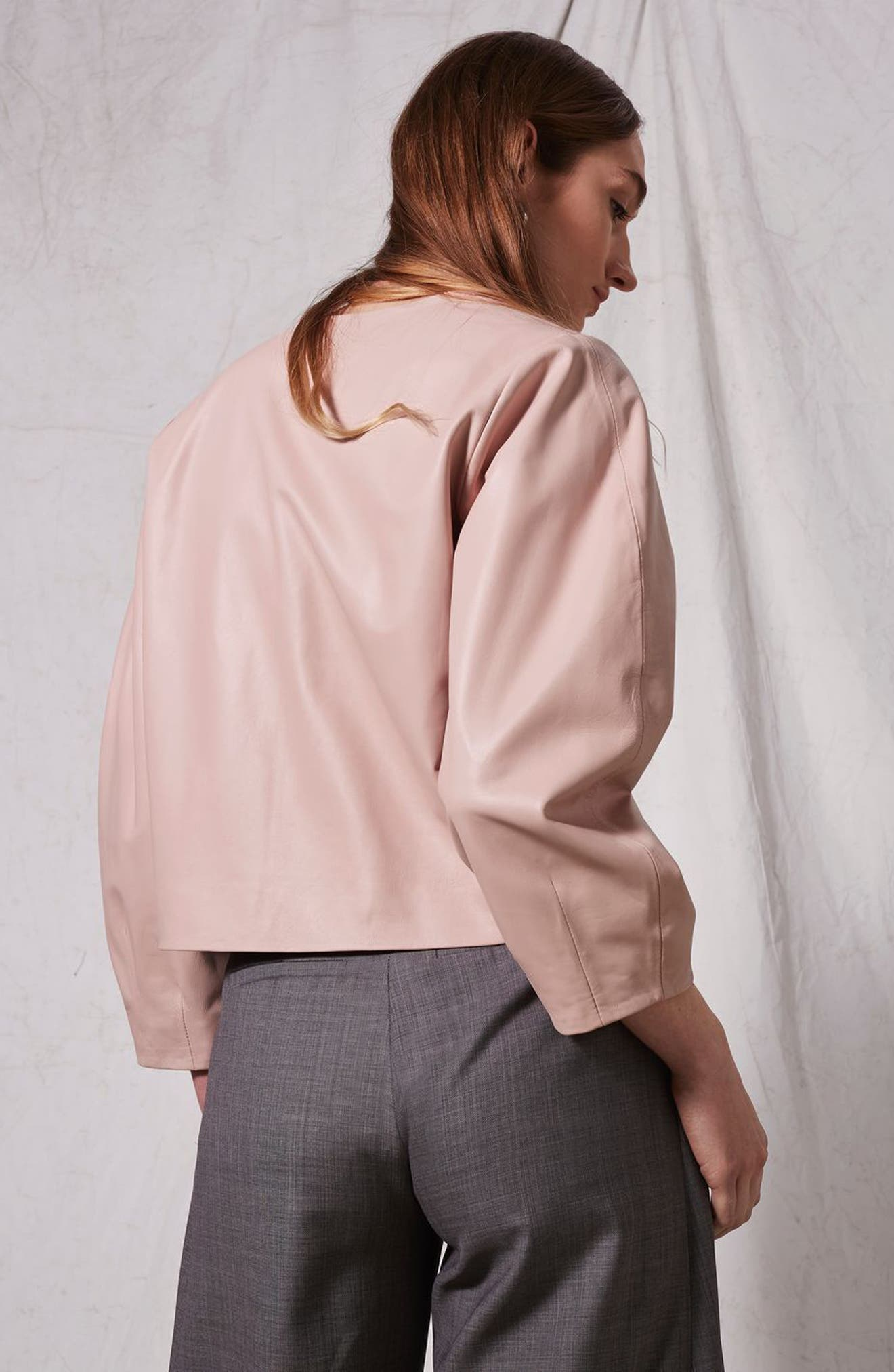 Leather Puff Sleeve Wrap Top,                             Alternate thumbnail 5, color,                             650