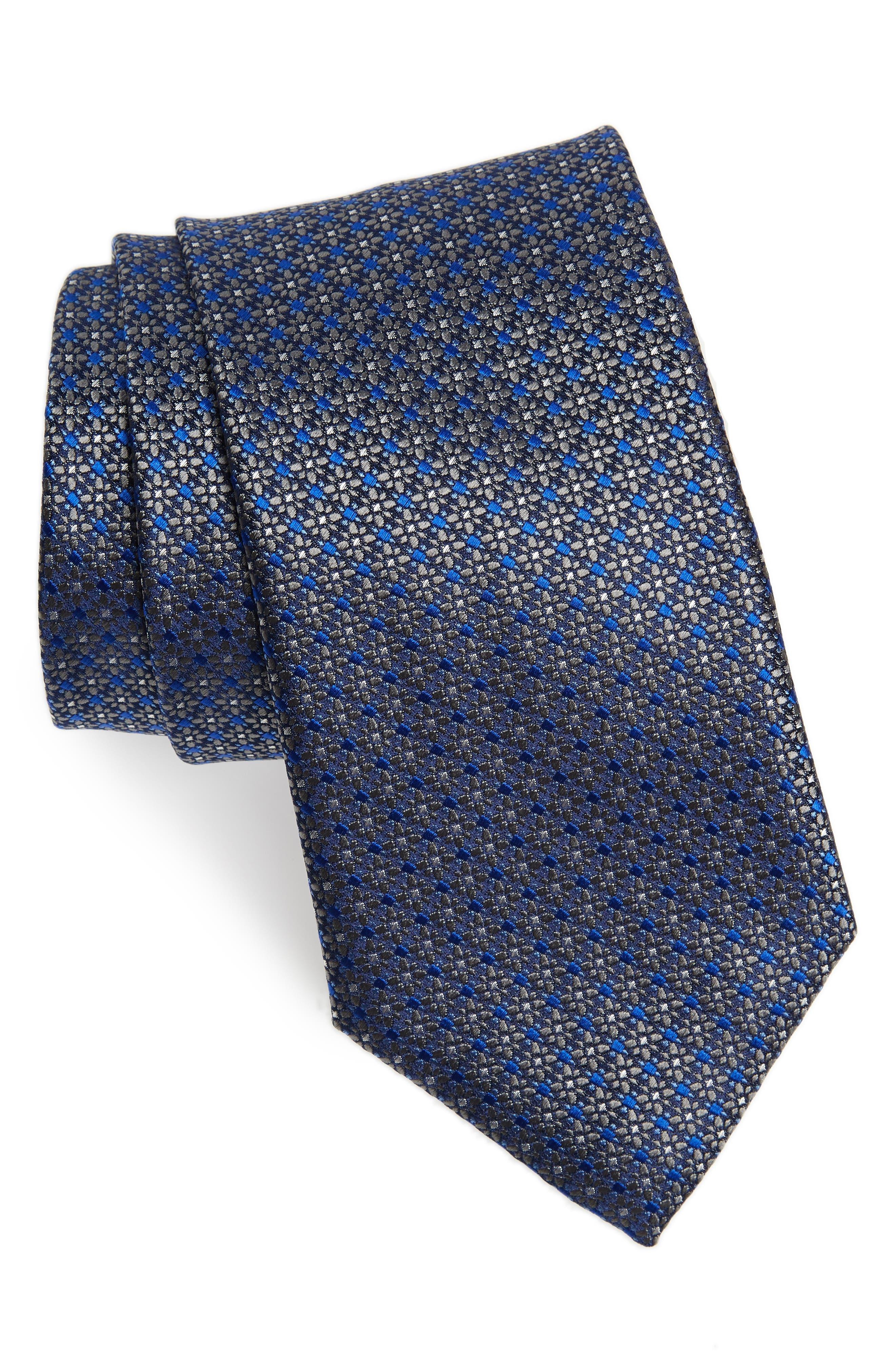 Neat Silk Tie,                         Main,                         color, SILVER