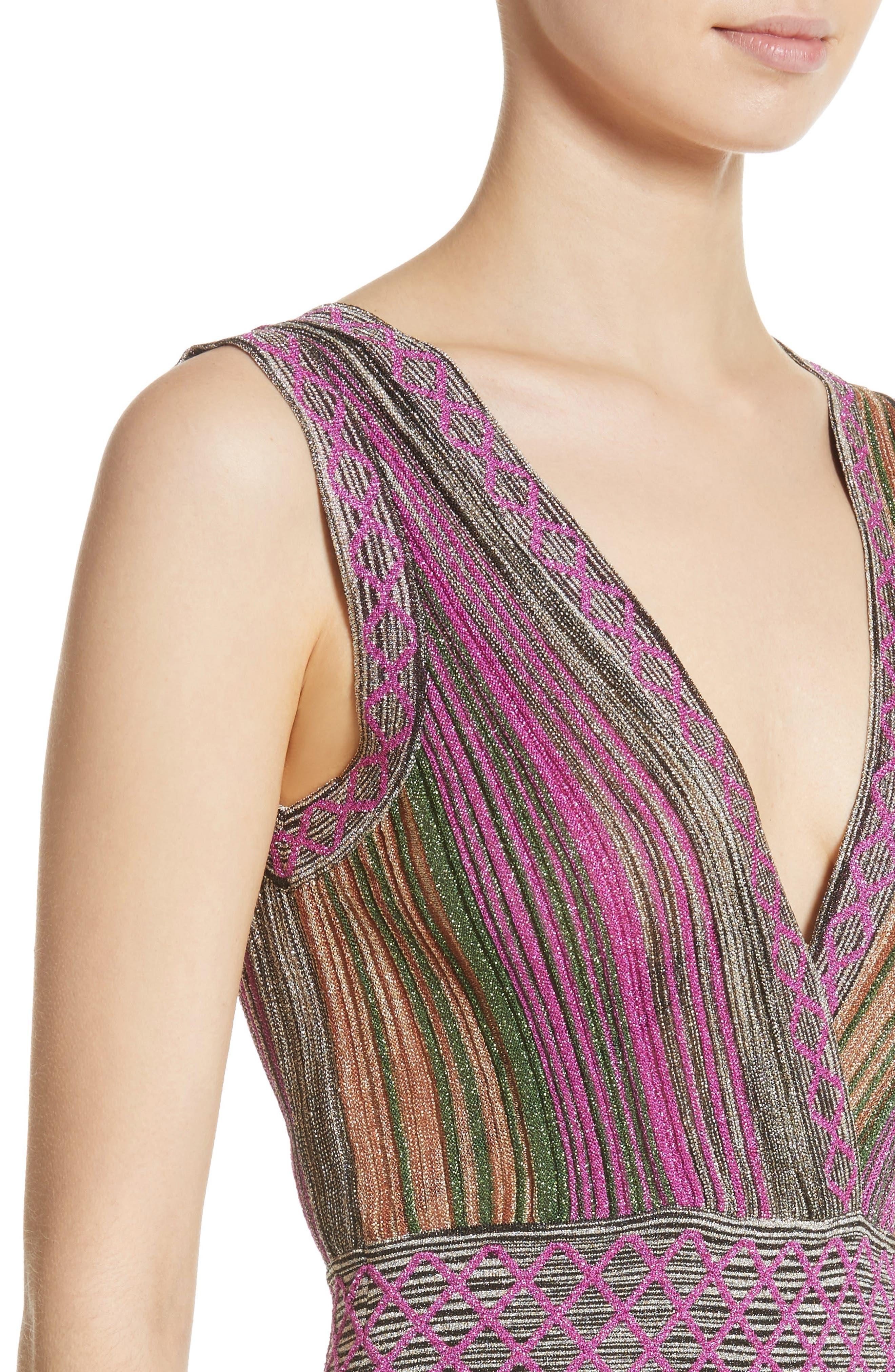 Reversible Metallic Stripe Knit Midi Dress,                             Alternate thumbnail 5, color,                             010