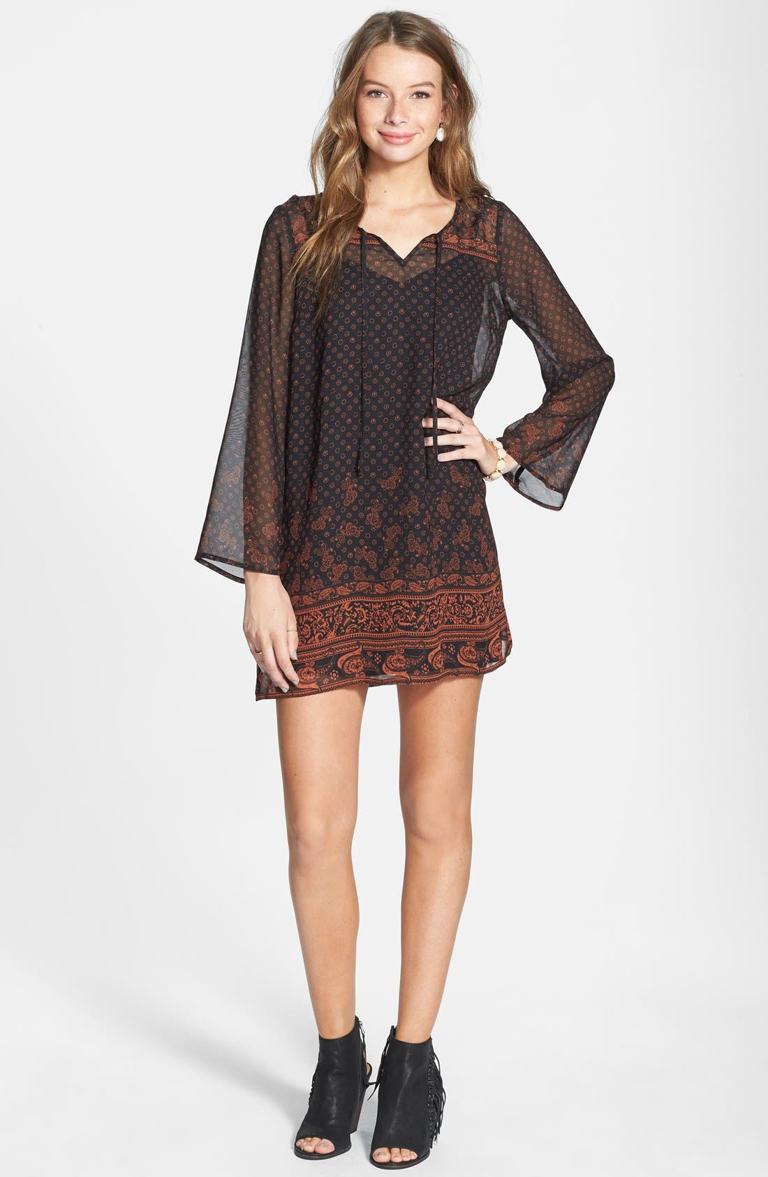 Be Bop Long Sleeve Border Print Dress,                             Alternate thumbnail 4, color,                             229