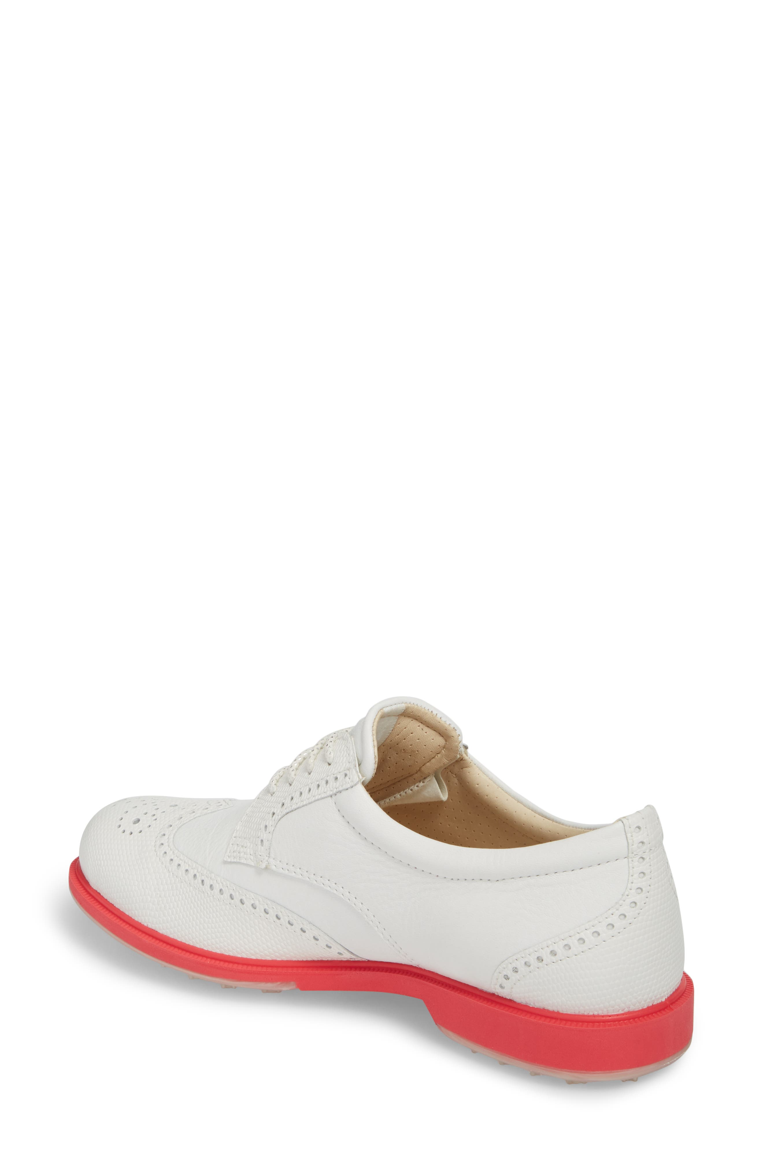 'Tour' Hybrid Wingtip Golf Shoe,                             Alternate thumbnail 2, color,                             WHITE LEATHER/ RED