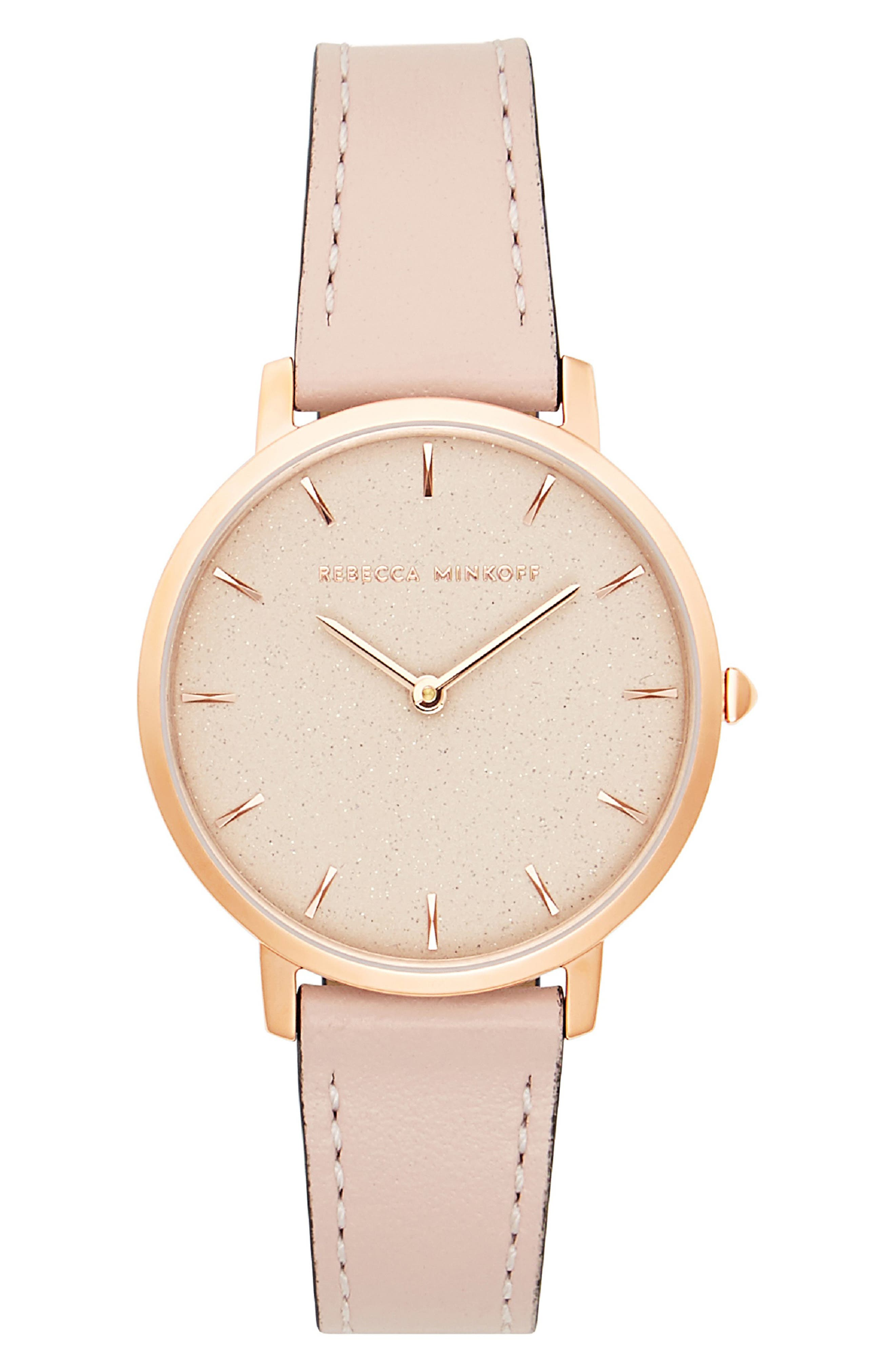 Major Leather Strap Watch, 35mm,                         Main,                         color, BLUSH/ ROSE GOLD