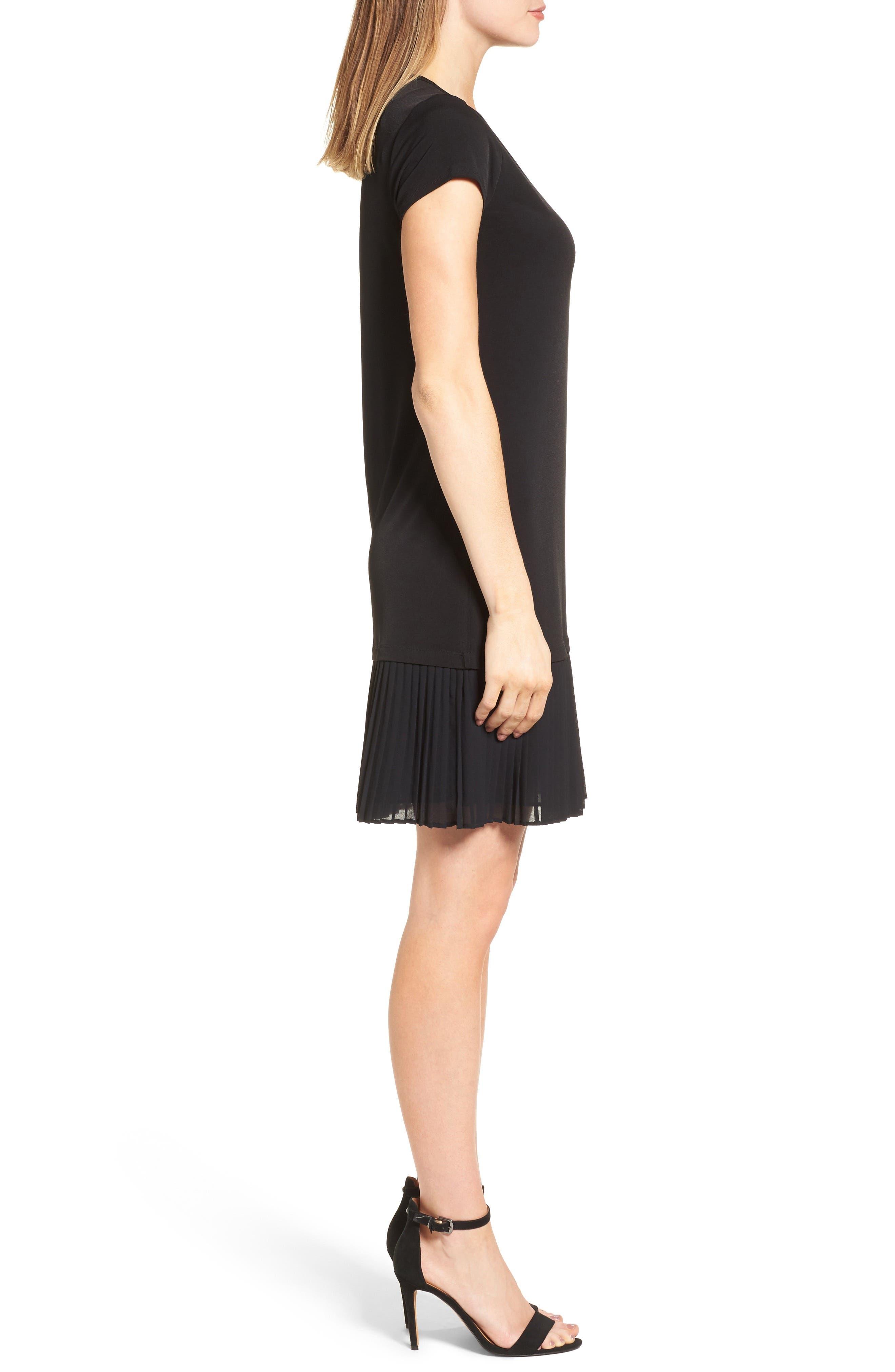 Pleat Chiffon Hem Jersey Dress,                             Alternate thumbnail 3, color,                             001