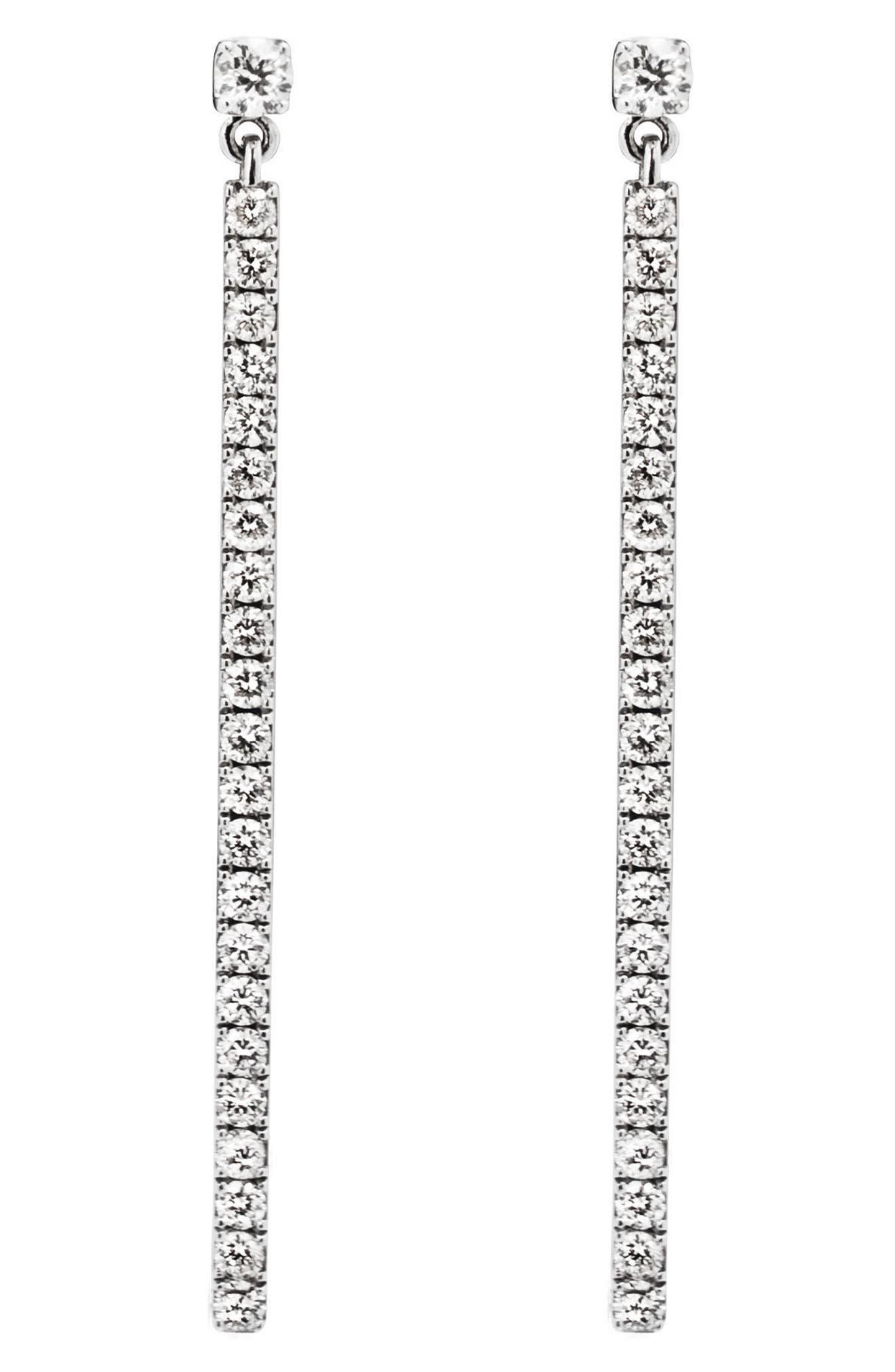 Diamond Bar Linear Earrings,                         Main,                         color, WHITE GOLD