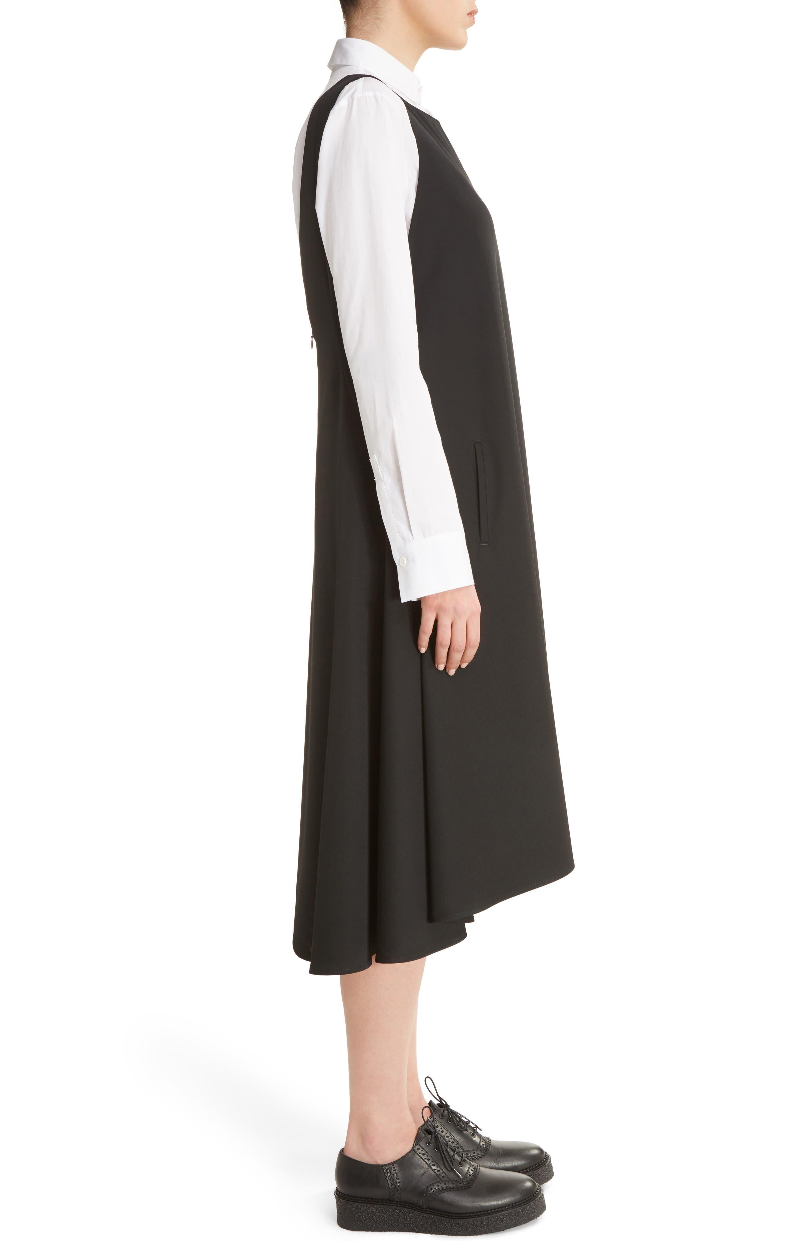 V-Back Sleeveless Wool Dress,                             Alternate thumbnail 3, color,                             001