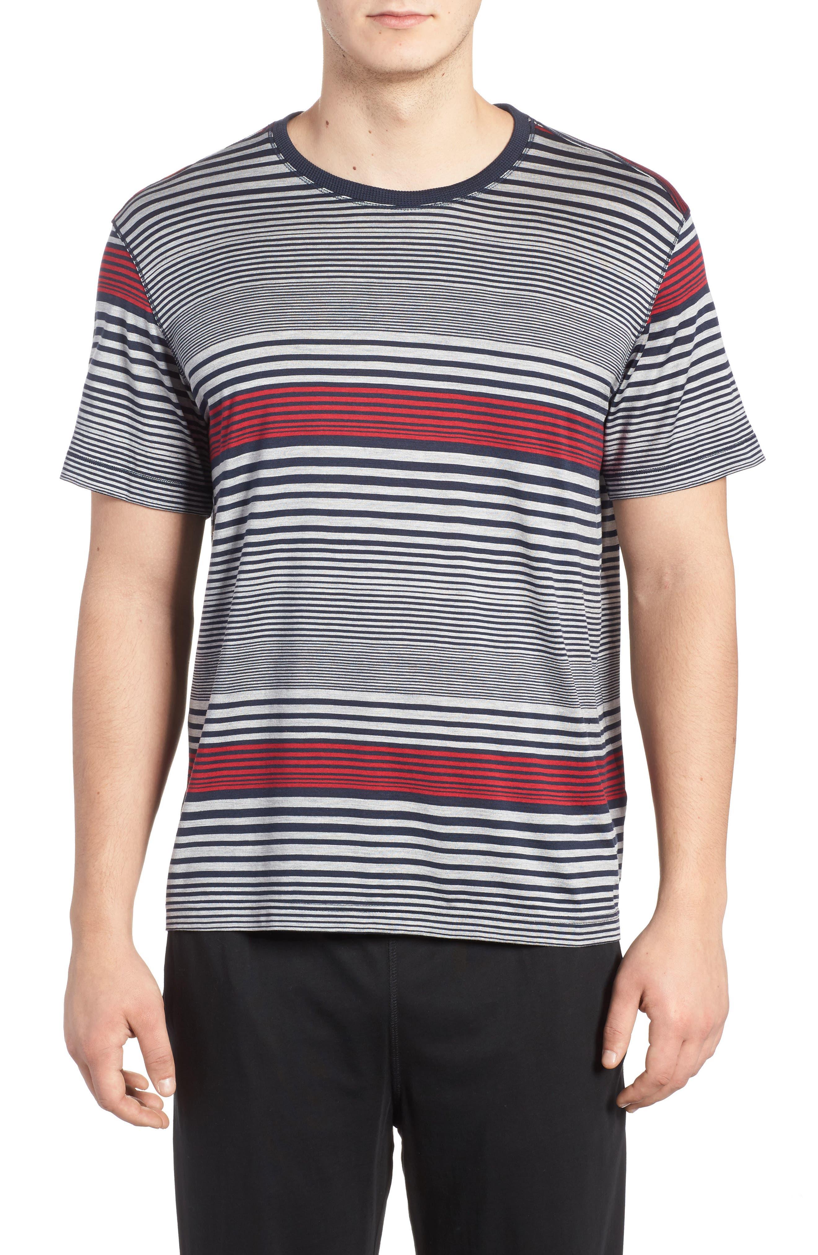 Stripe Silk & Cotton T-Shirt,                         Main,                         color, 400